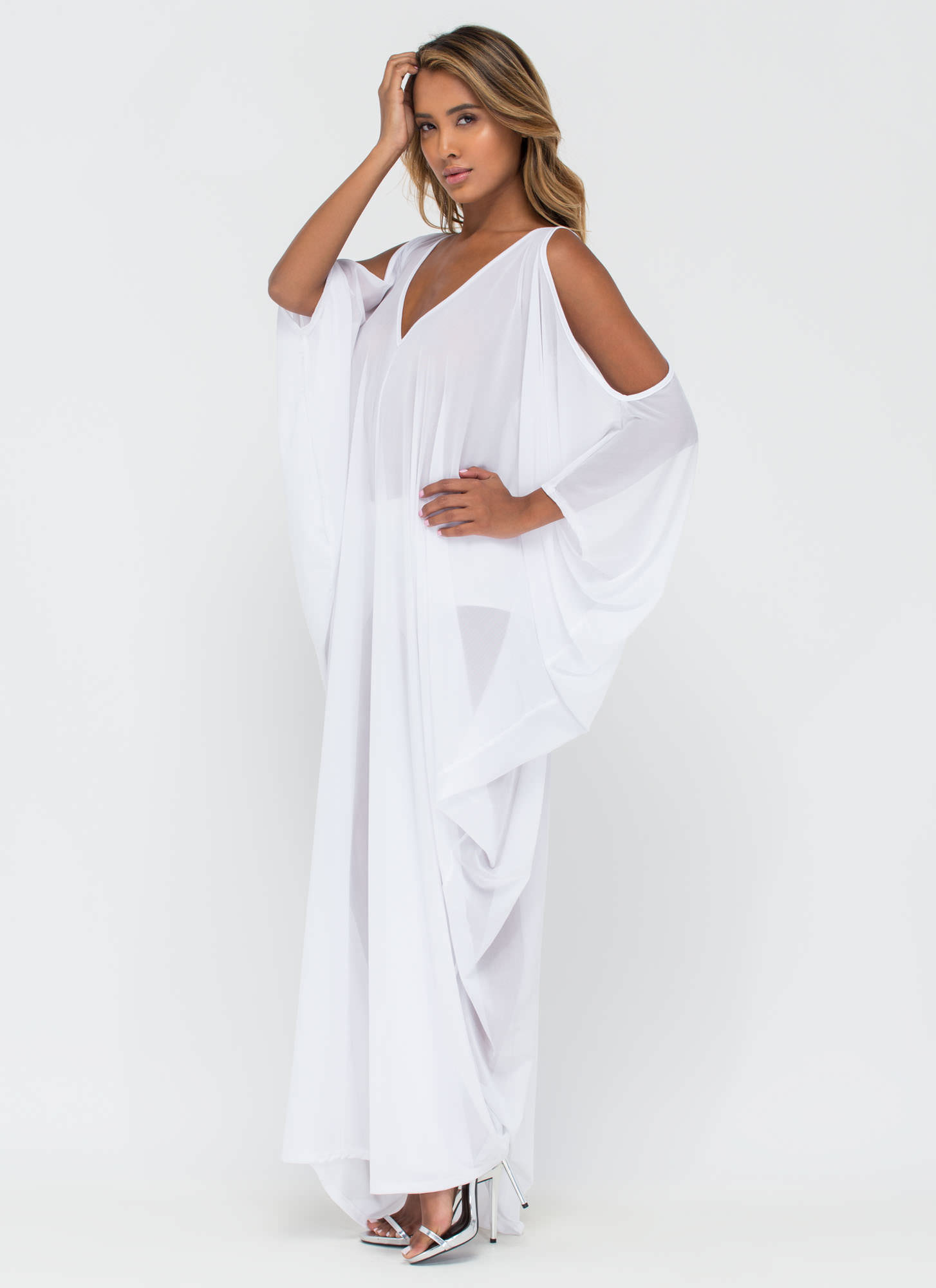 Chic 'N Sheer Plunging Caftan Maxi Dress WHITE
