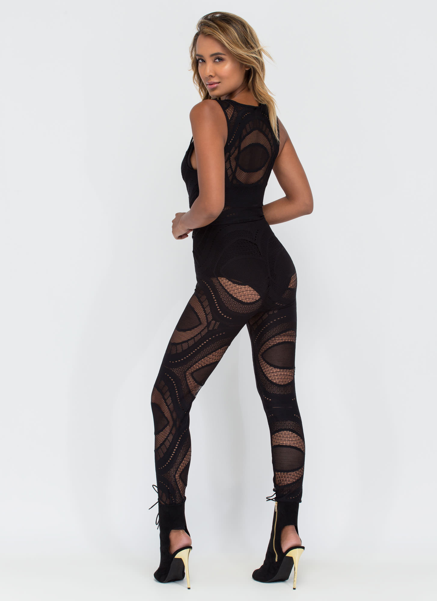 Slay The Day Patterned Mesh Jumpsuit BLACK