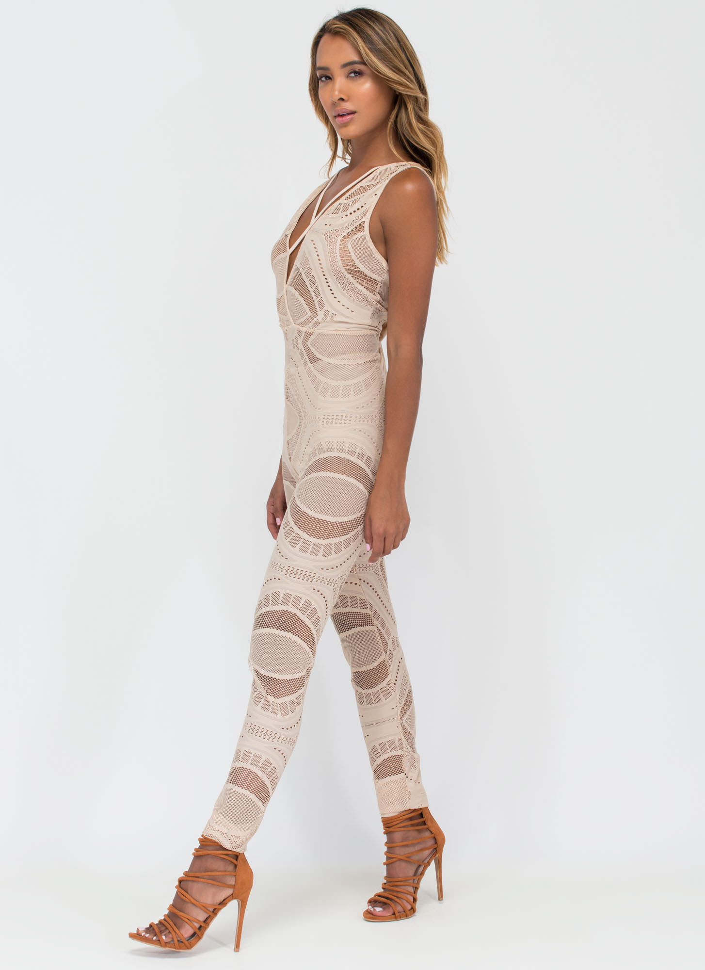 Slay The Day Patterned Mesh Jumpsuit NUDE