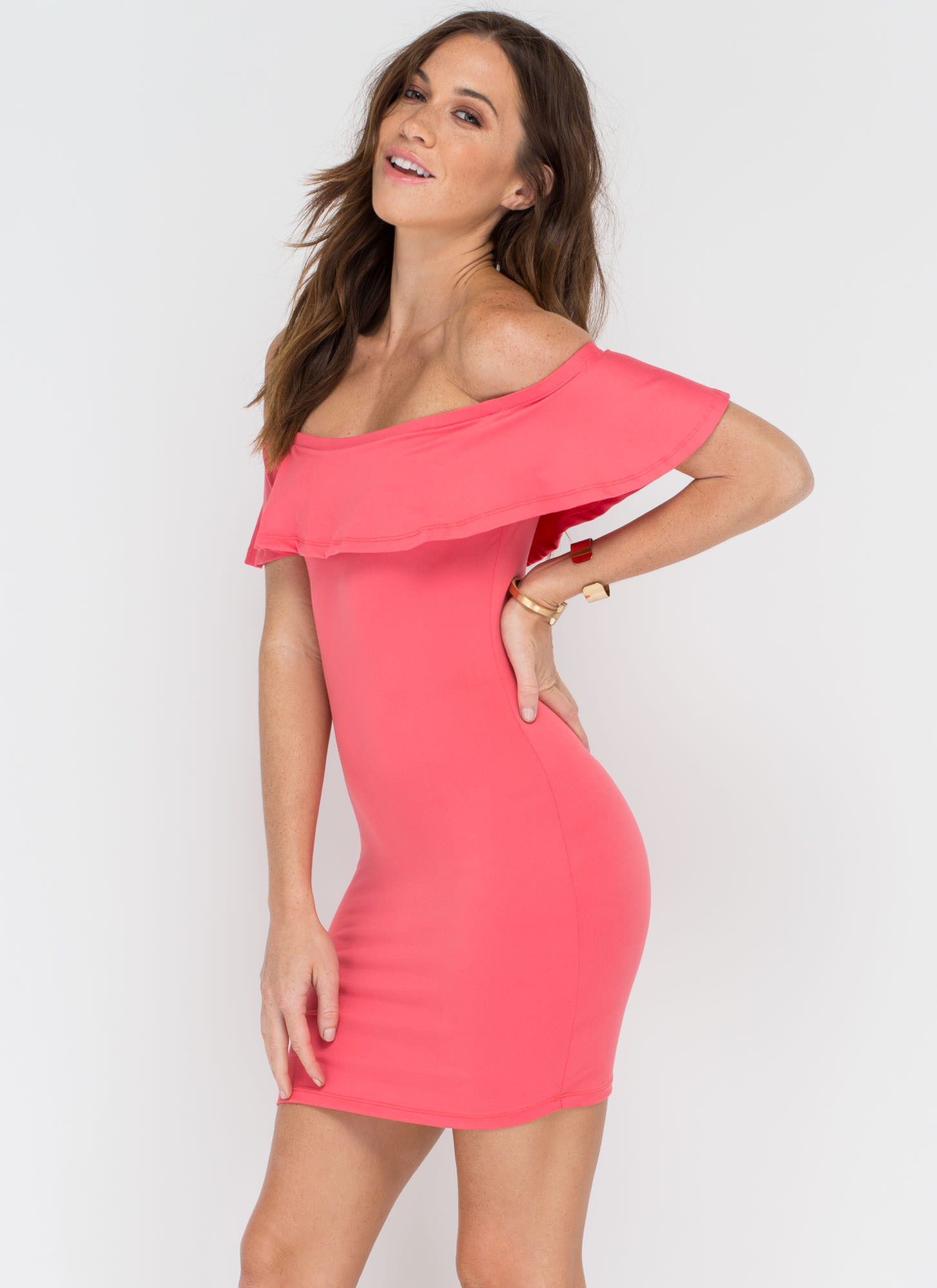 Frill Seeker Off-The-Shoulder Dress CORAL