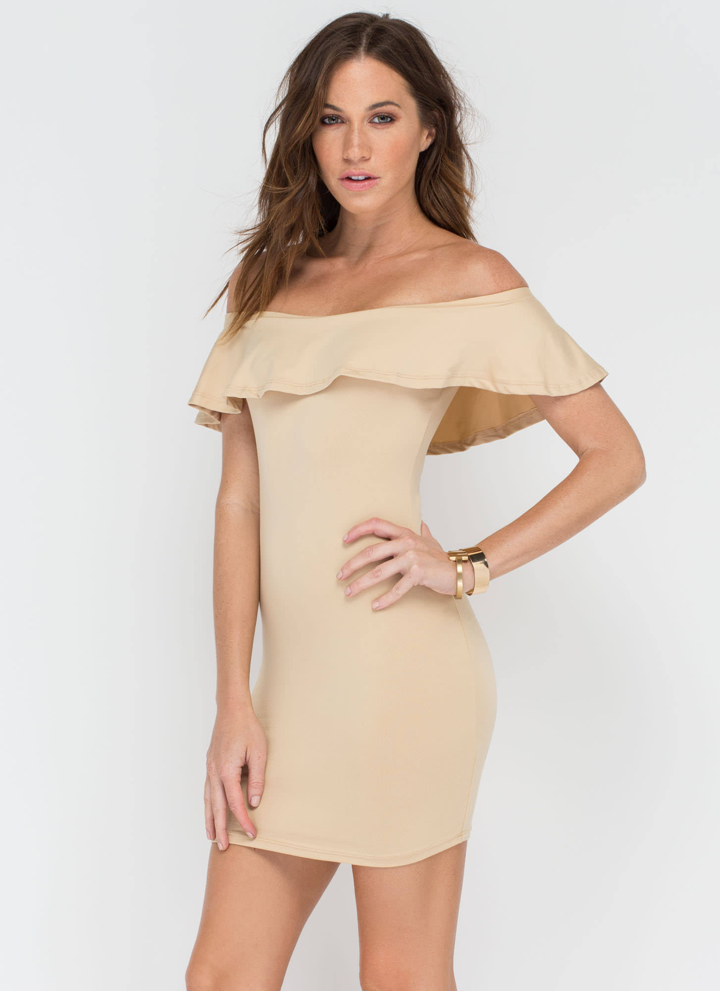 Frill Seeker Off-The-Shoulder Dress KHAKI