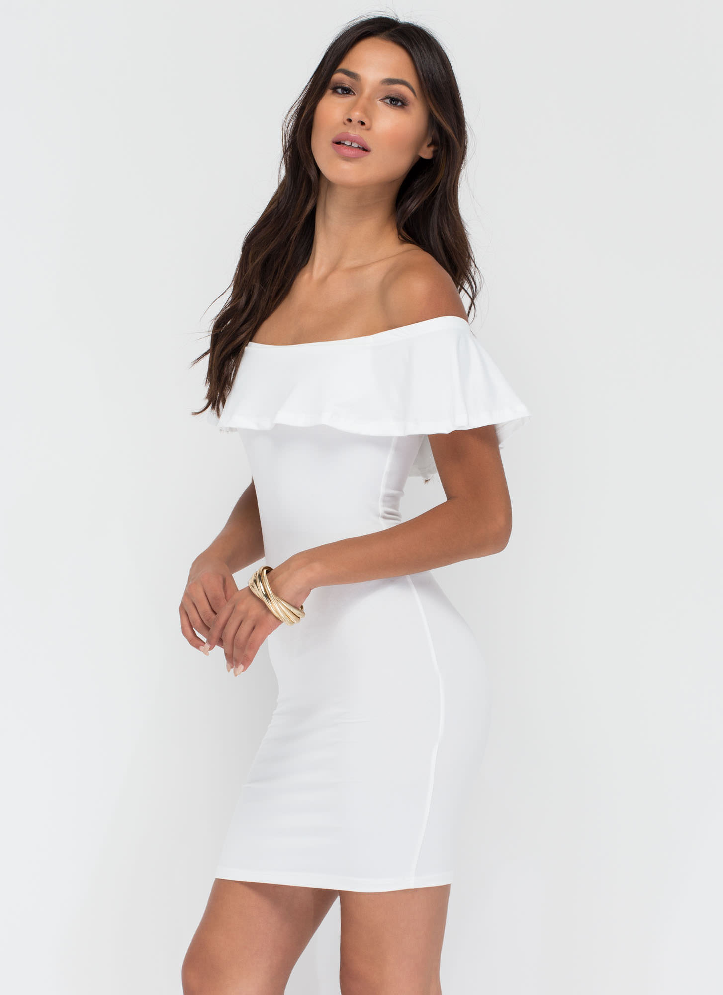 Frill Seeker Off-The-Shoulder Dress WHITE