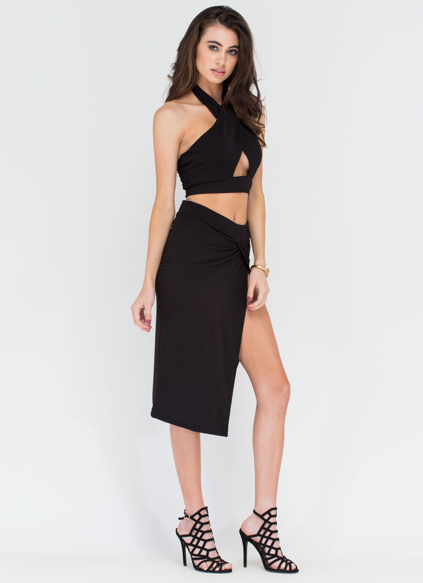 Cut To Me Halter Top And Skirt Set BLACK