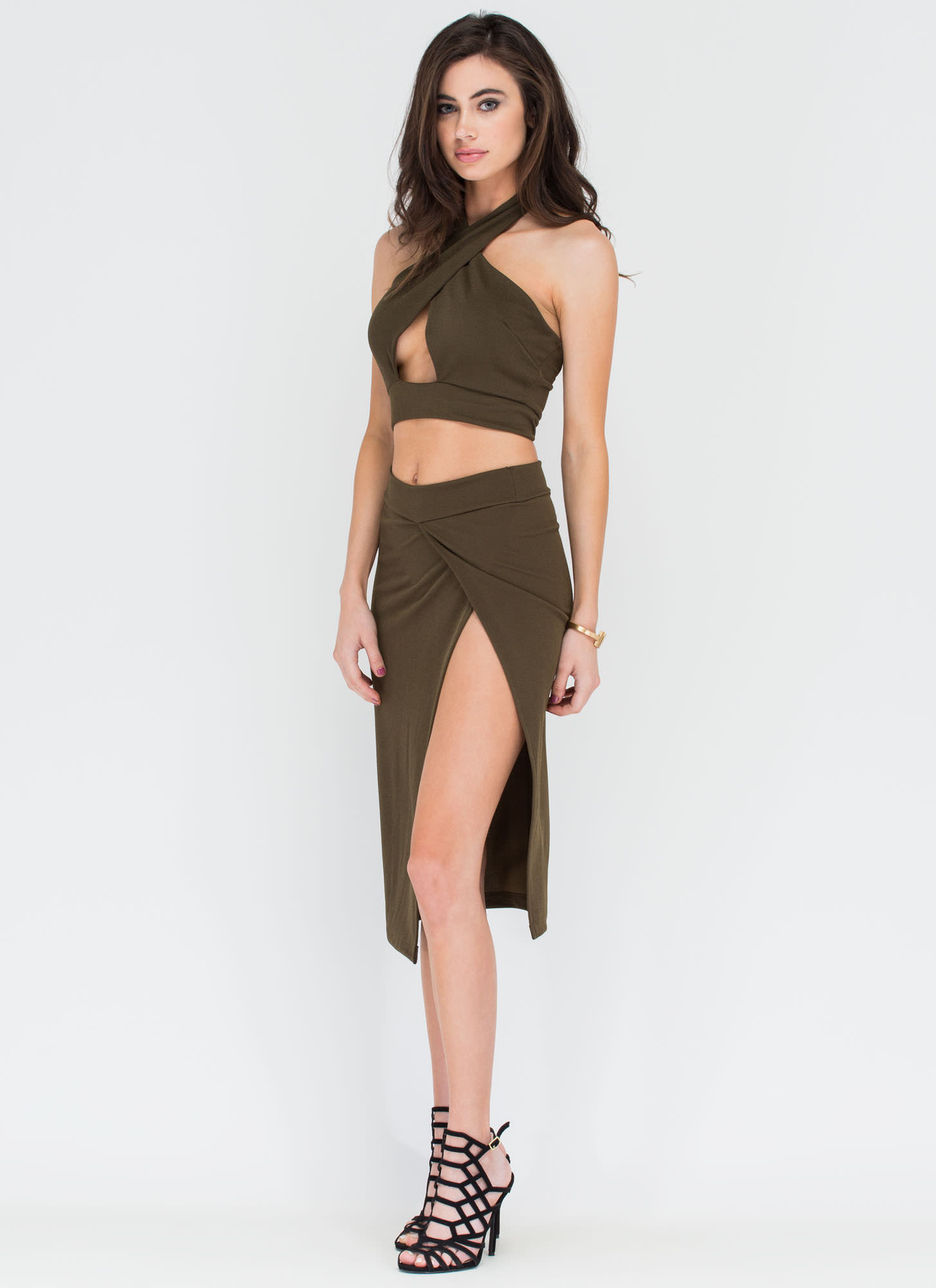 Cut To Me Halter Top And Skirt Set OLIVE