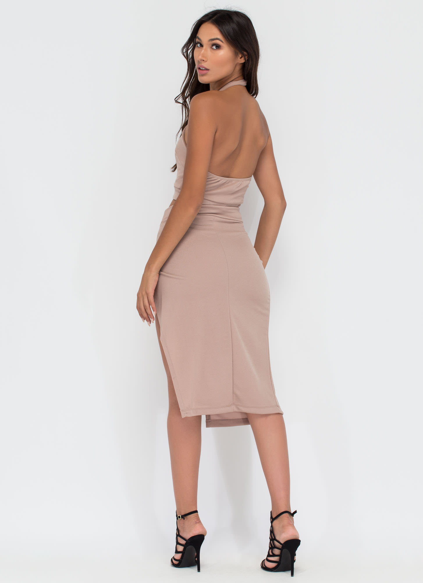 Cut To Me Halter Top And Skirt Set TAUPE
