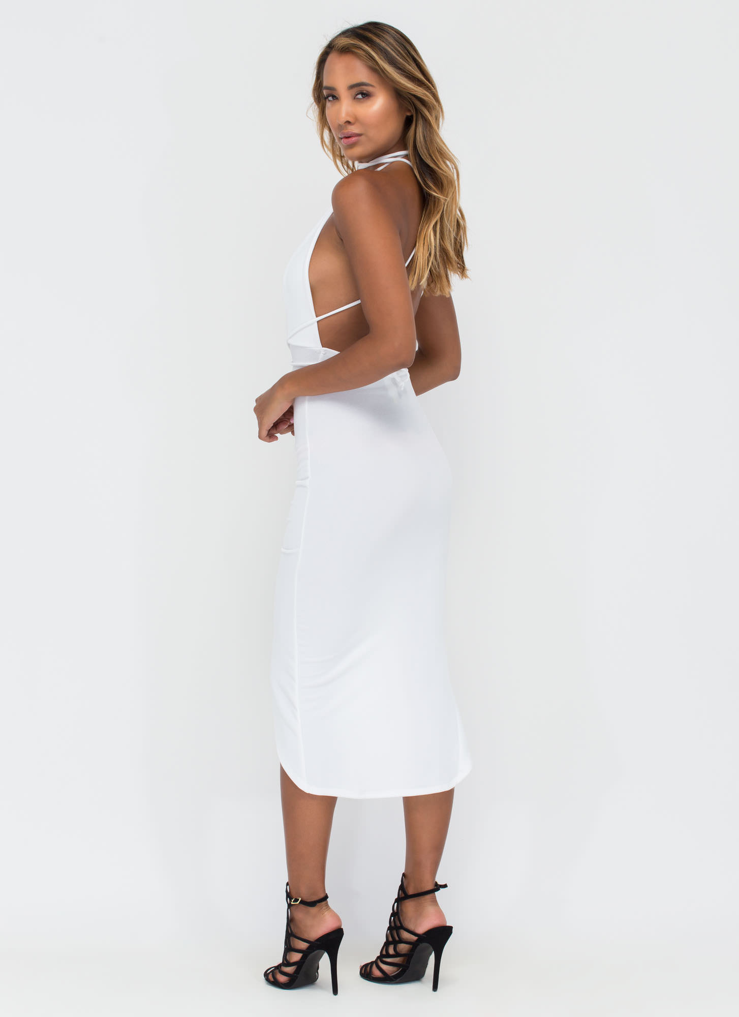 Picture Perfect Plunging High-Low Dress WHITE