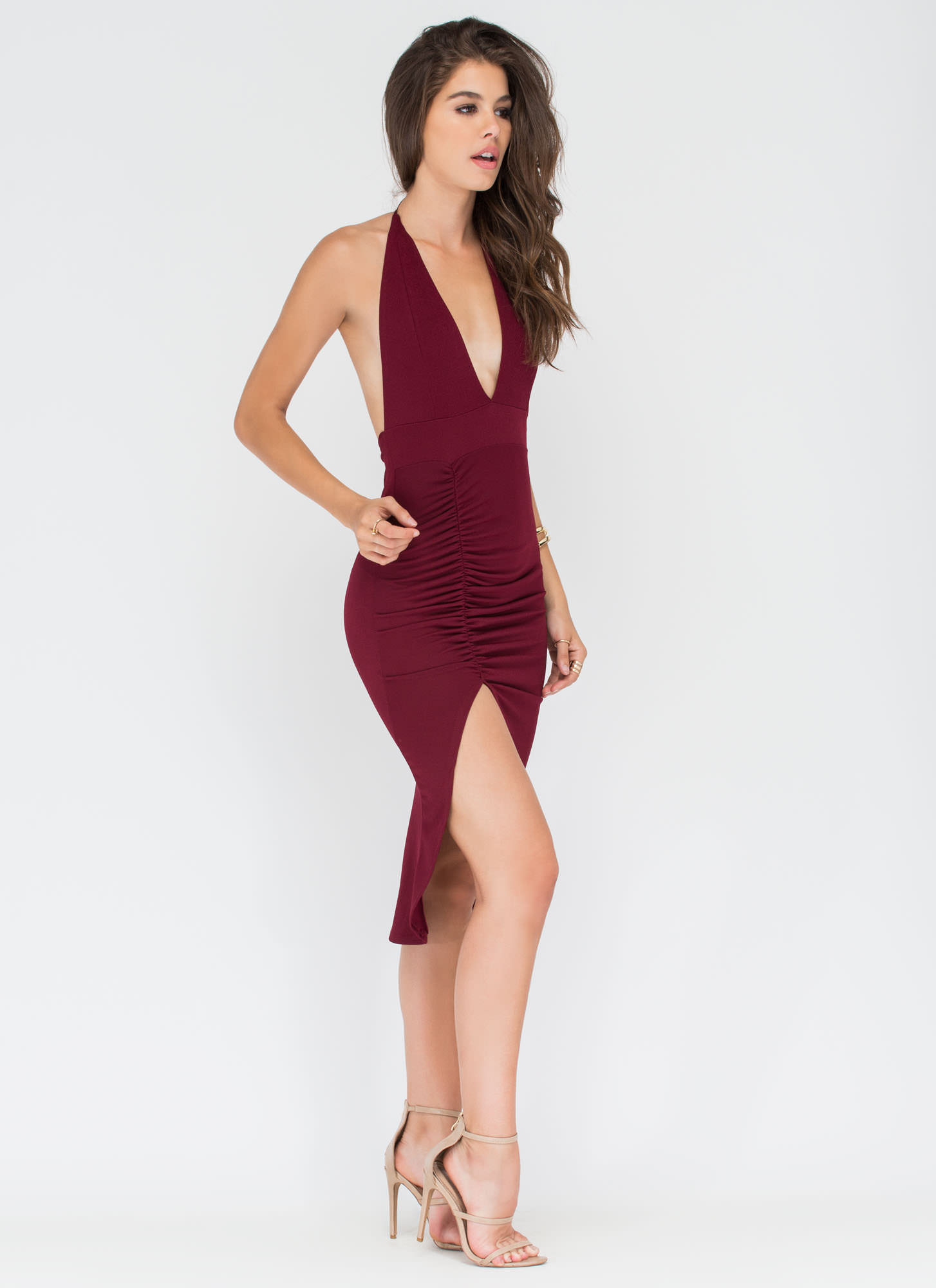 Picture Perfect Plunging High-Low Dress WINE