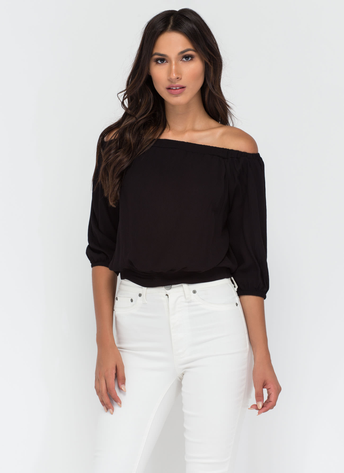 Ride Or Tie Off-Shoulder Top BLACK