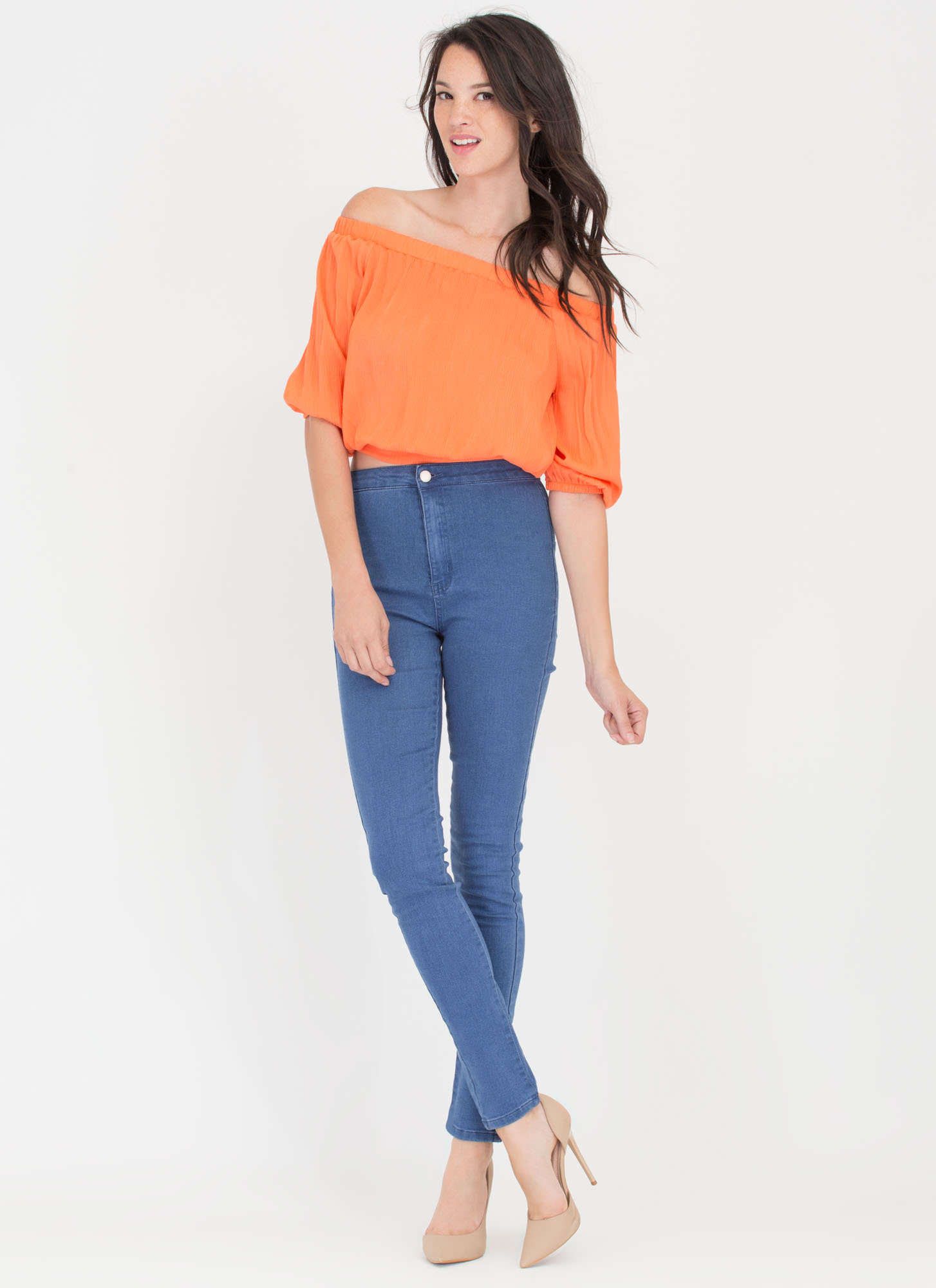Ride Or Tie Off-Shoulder Top ORANGE