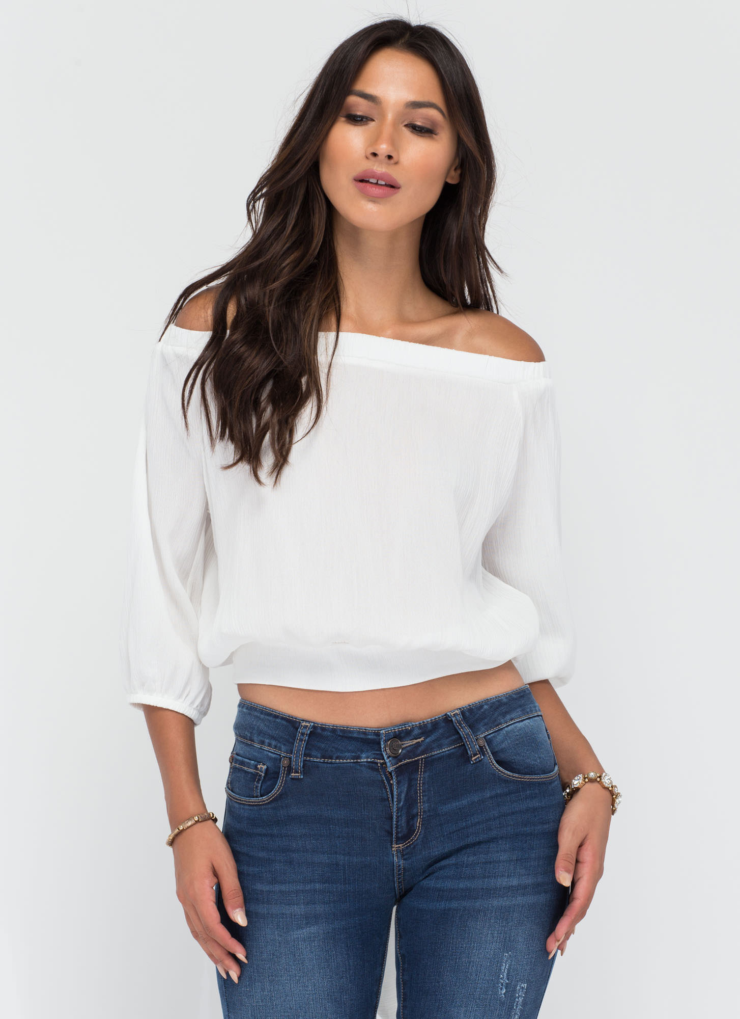 Ride Or Tie Off-Shoulder Top WHITE