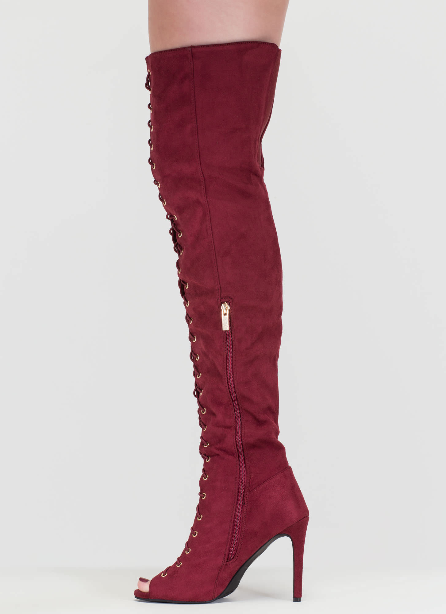 True Story Over-The-Knee Laced Boots BURGUNDY