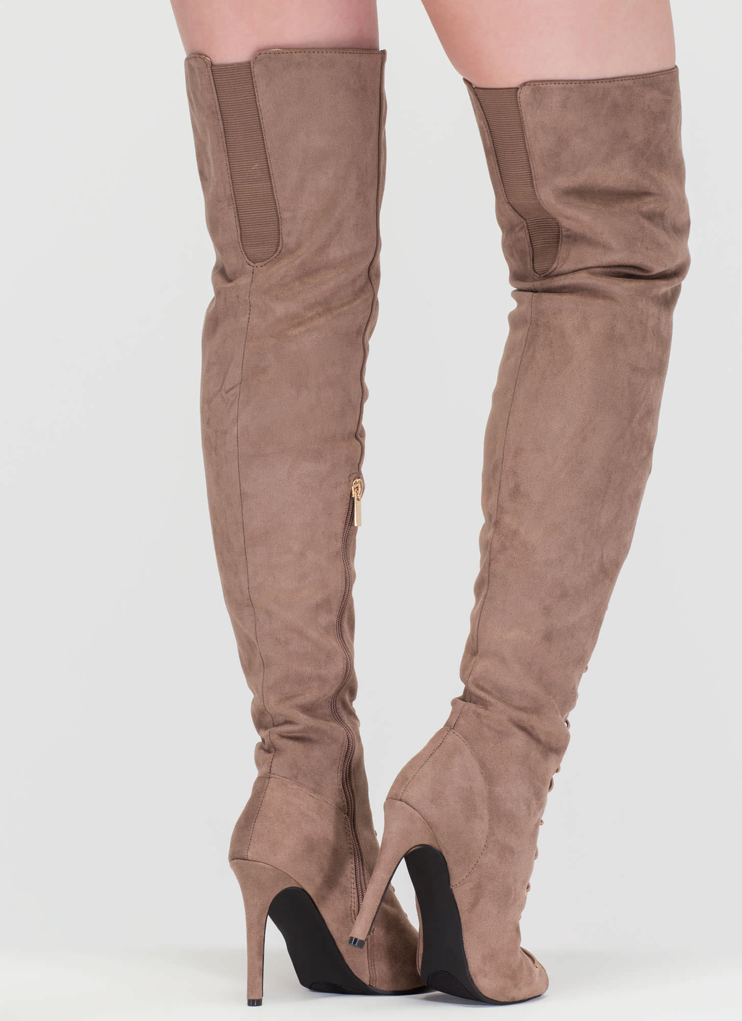 True Story Over-The-Knee Laced Boots TAUPE