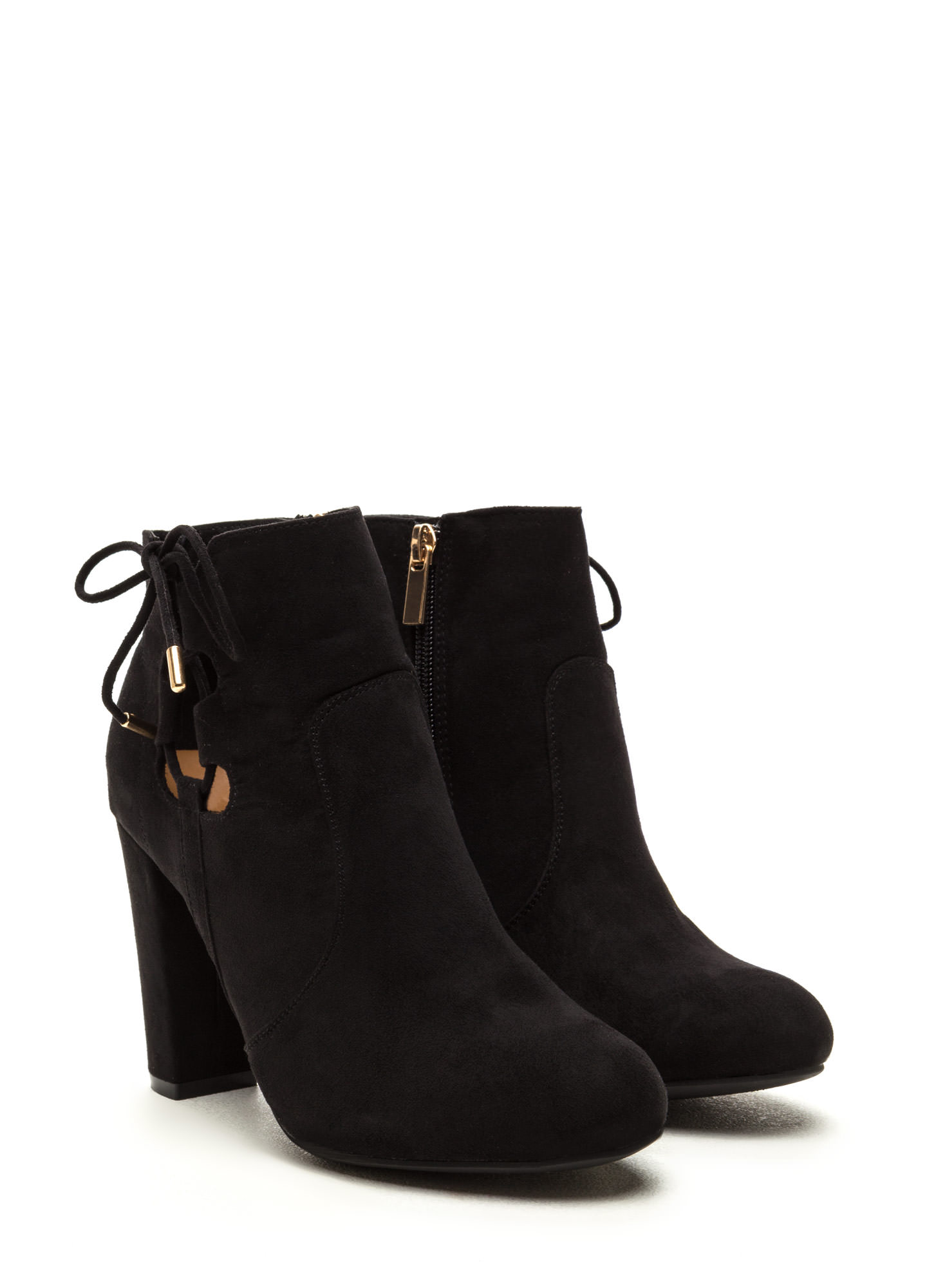 Head To Toe Lace-Up Chunky Booties BLACK