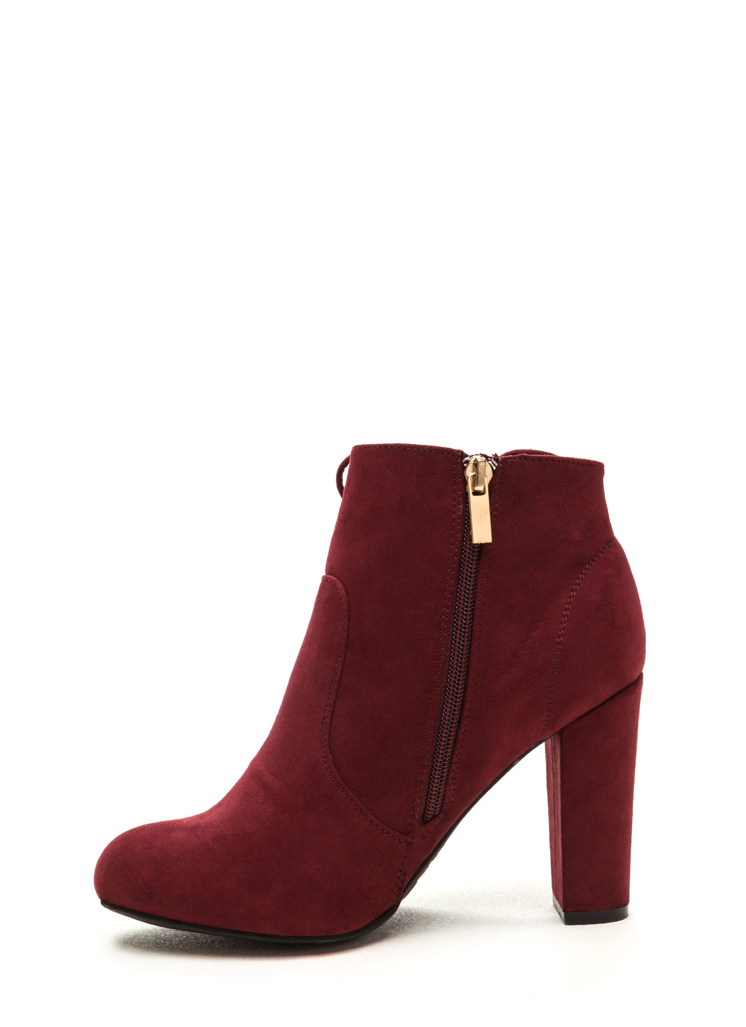 Head To Toe Lace-Up Chunky Booties BURGUNDY