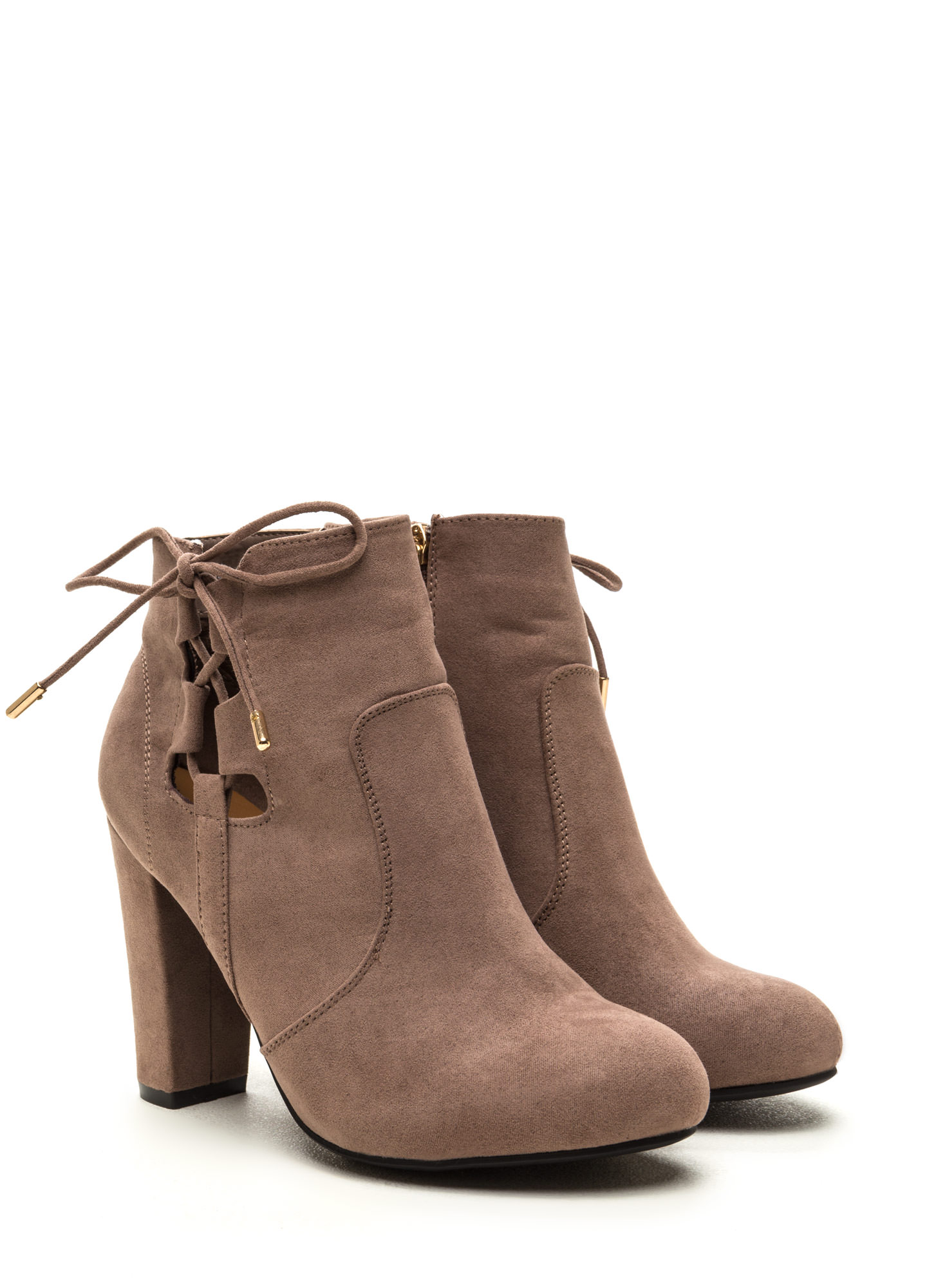 Head To Toe Lace-Up Chunky Booties LTTAUPE
