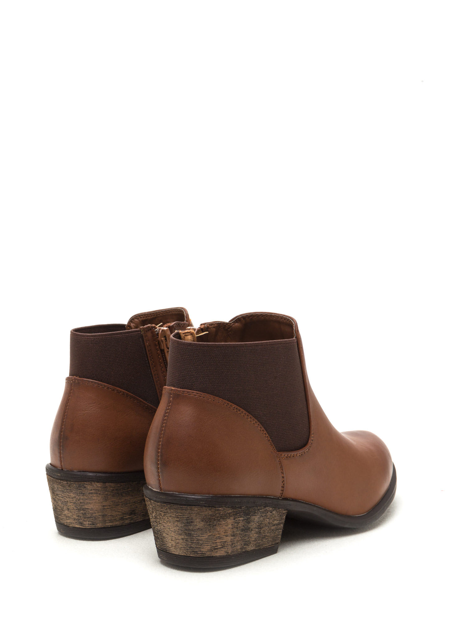 Polished Chunky Faux Leather Booties CHESTNUT