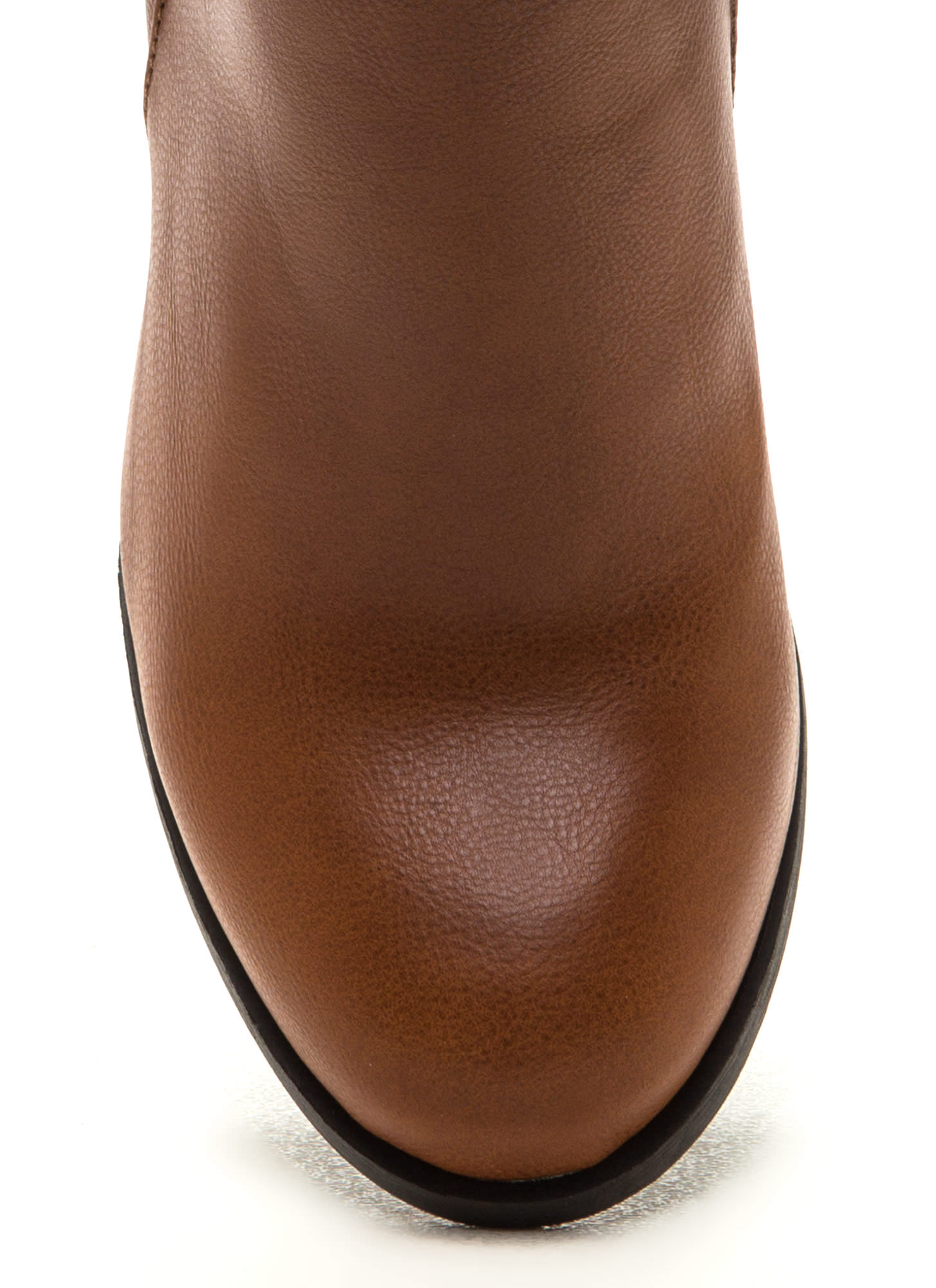 Style Crossroad Faux Leather Booties CHESTNUT