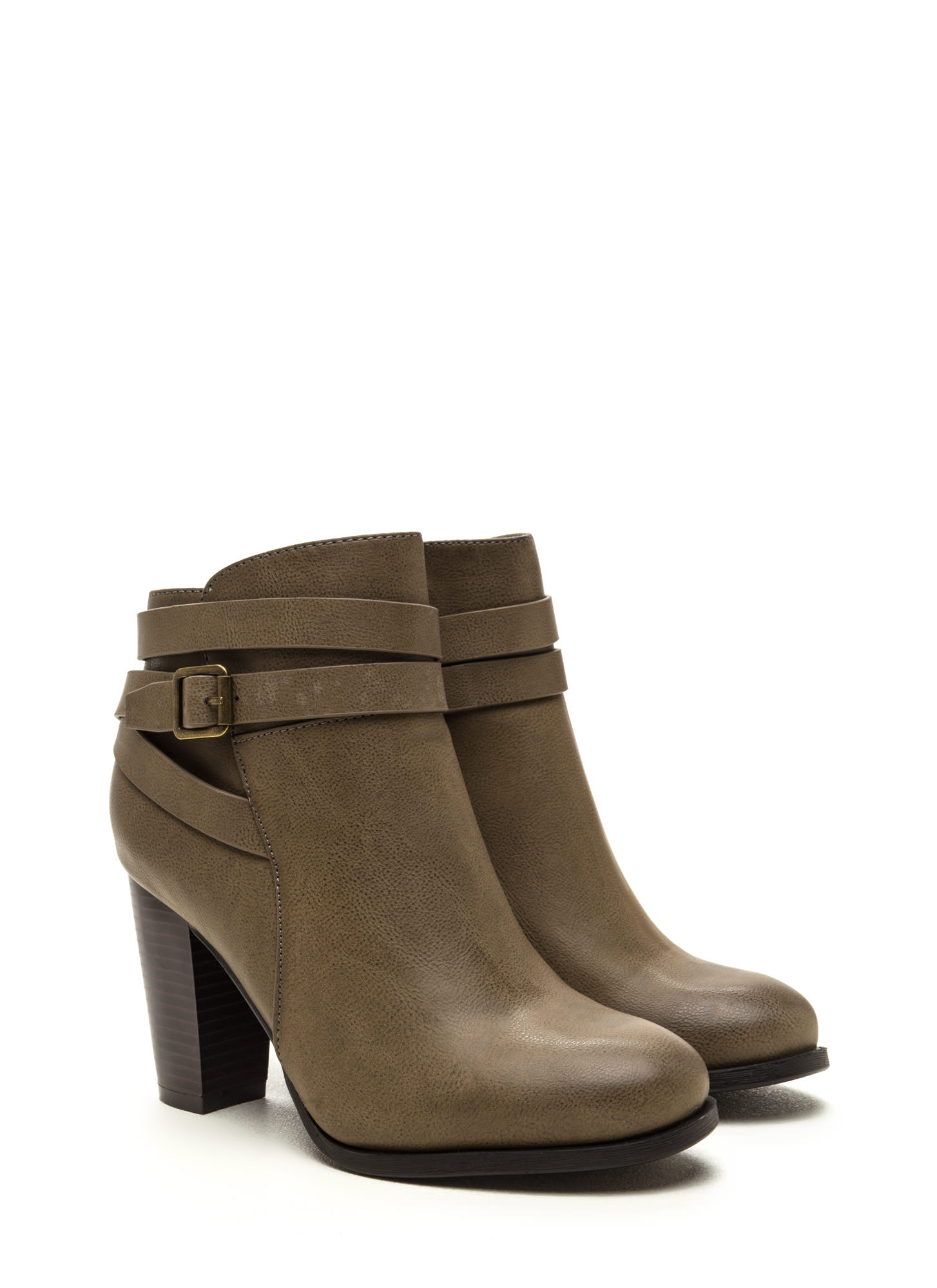 Style Crossroad Faux Leather Booties TAUPE