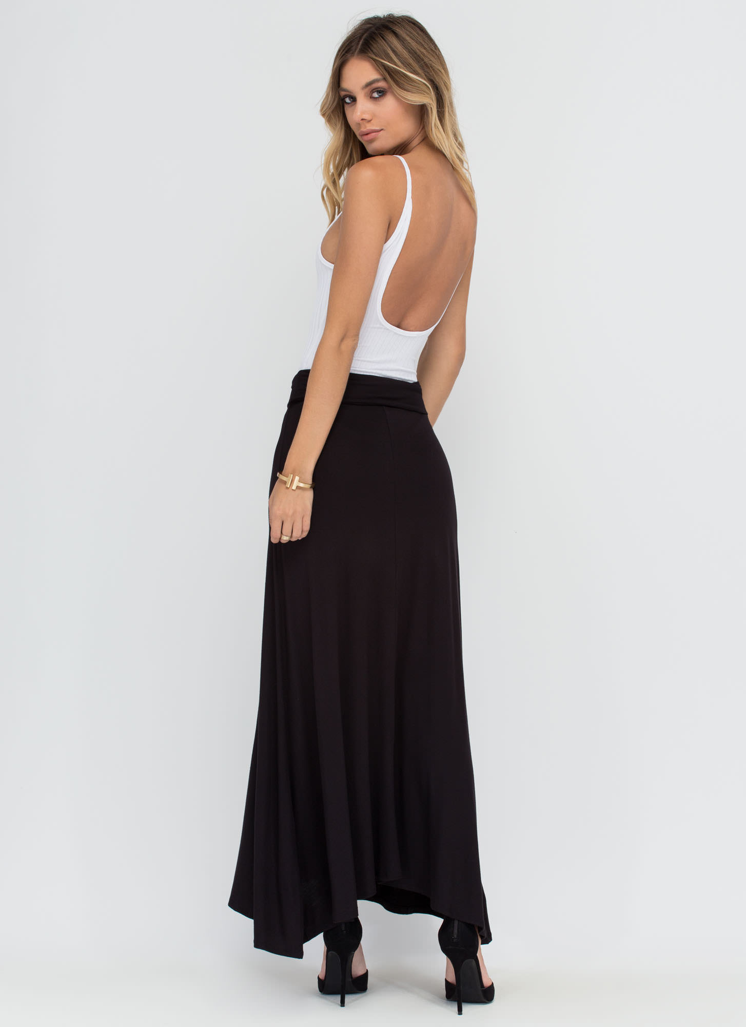 Simple As Can Be Ruched Maxi Skirt BLACK (Final Sale)