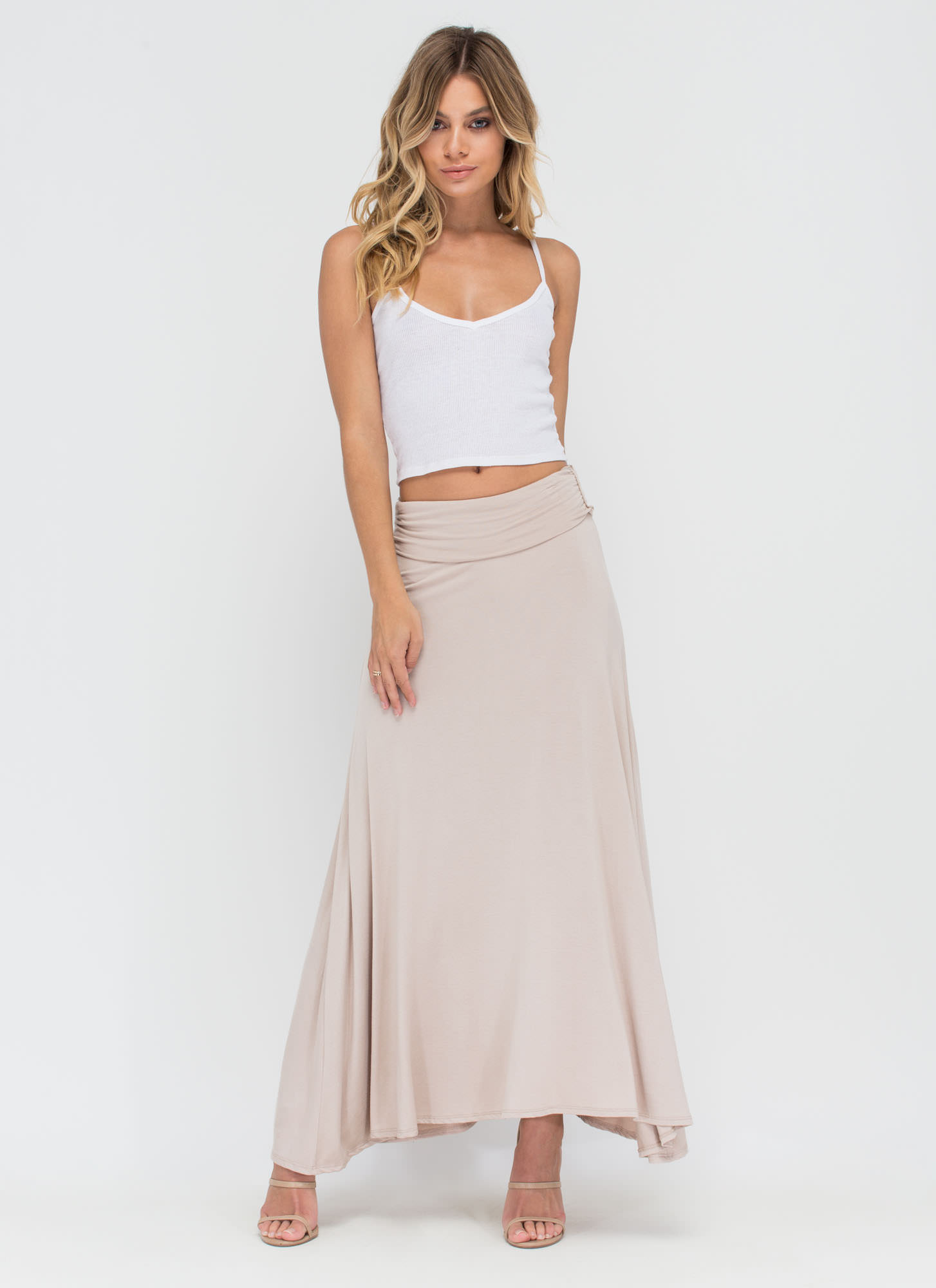 Simple As Can Be Ruched Maxi Skirt TAUPE (Final Sale)