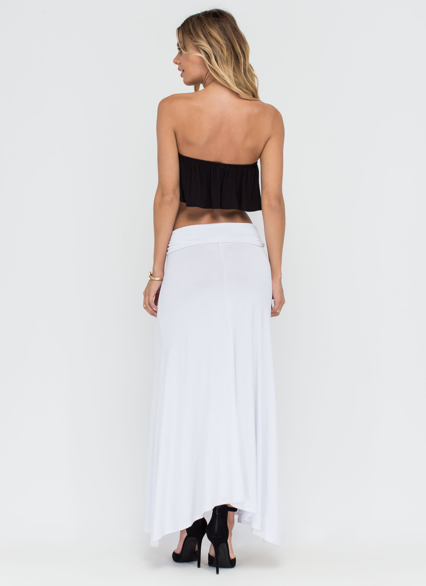 Simple As Can Be Ruched Maxi Skirt WHITE (Final Sale)