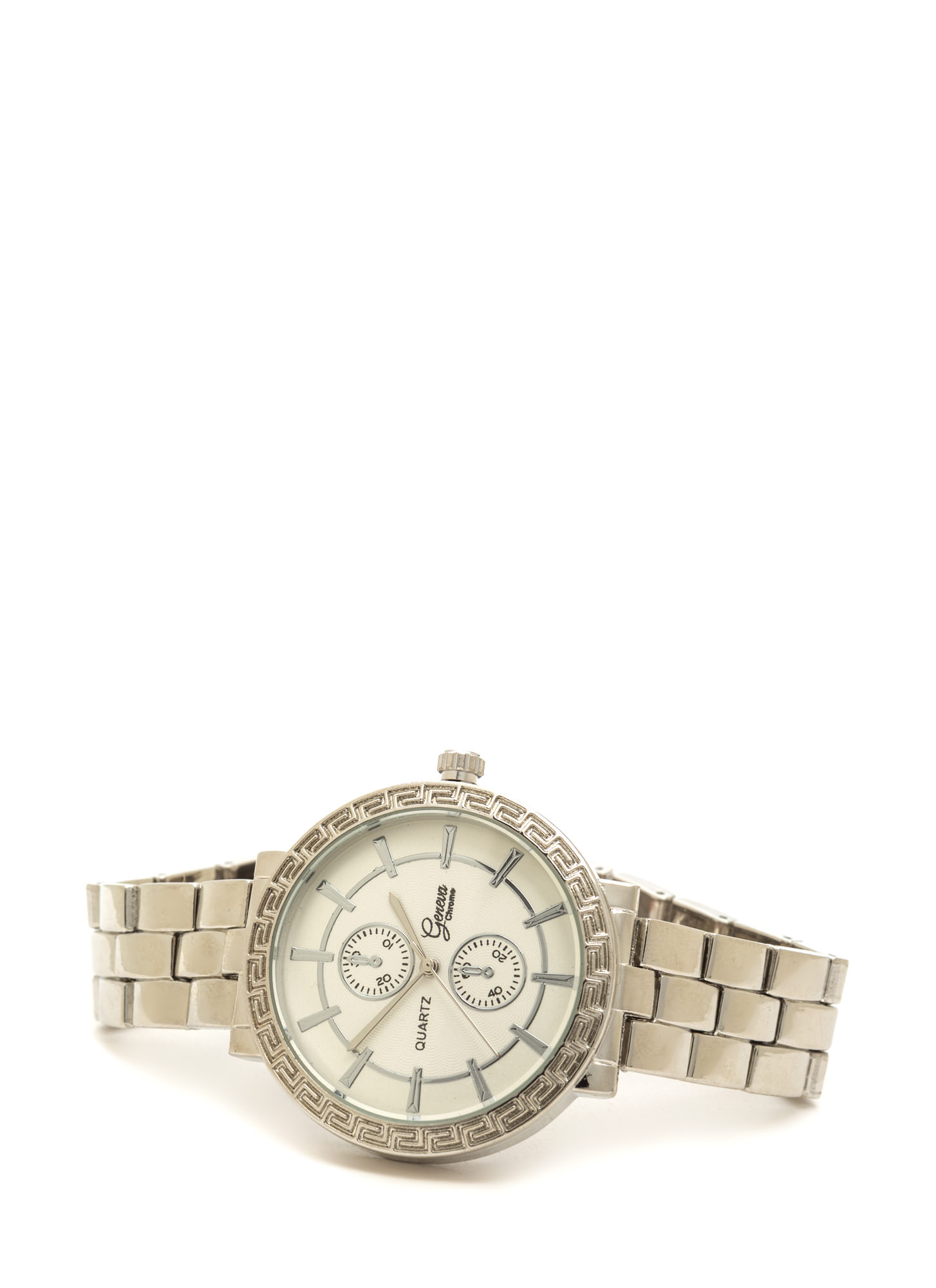 Time Out Textured Boyfriend Watch SILVER