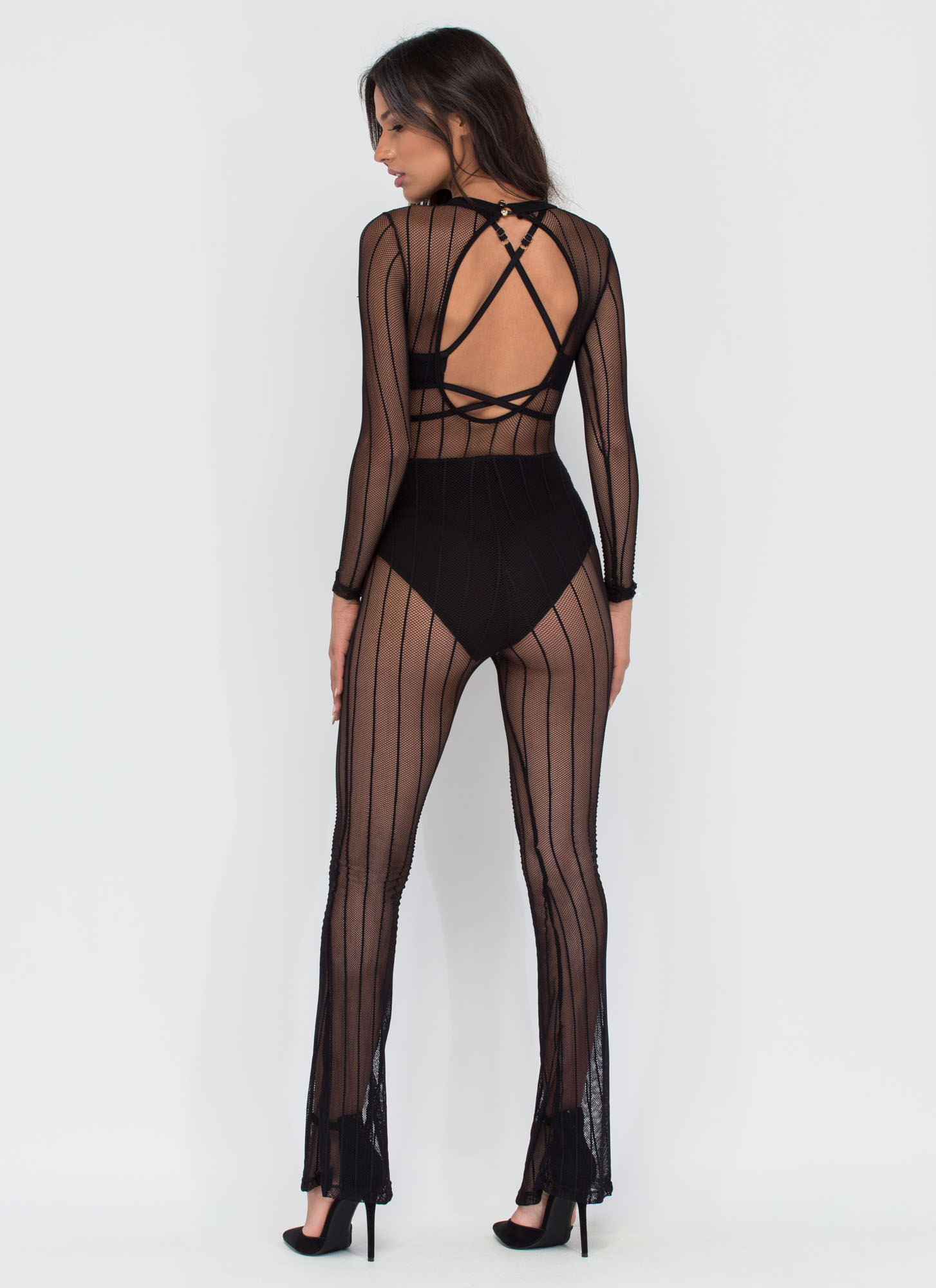 Cast A Line Sheer Striped Jumpsuit BLACK