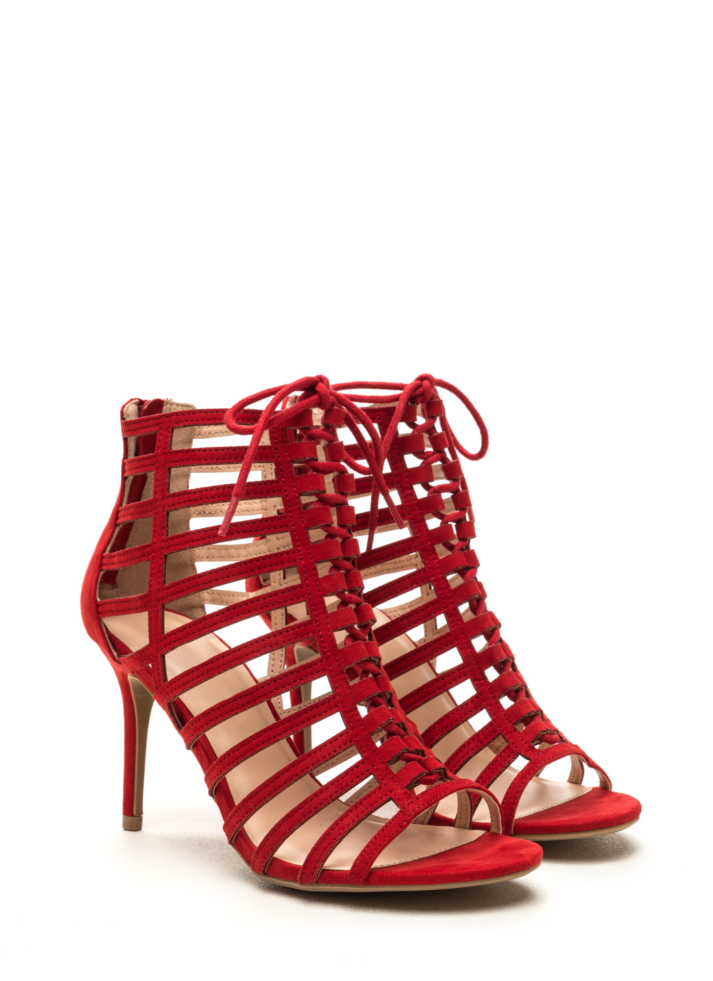 View From The Top Strappy Lace-Up Heels RED