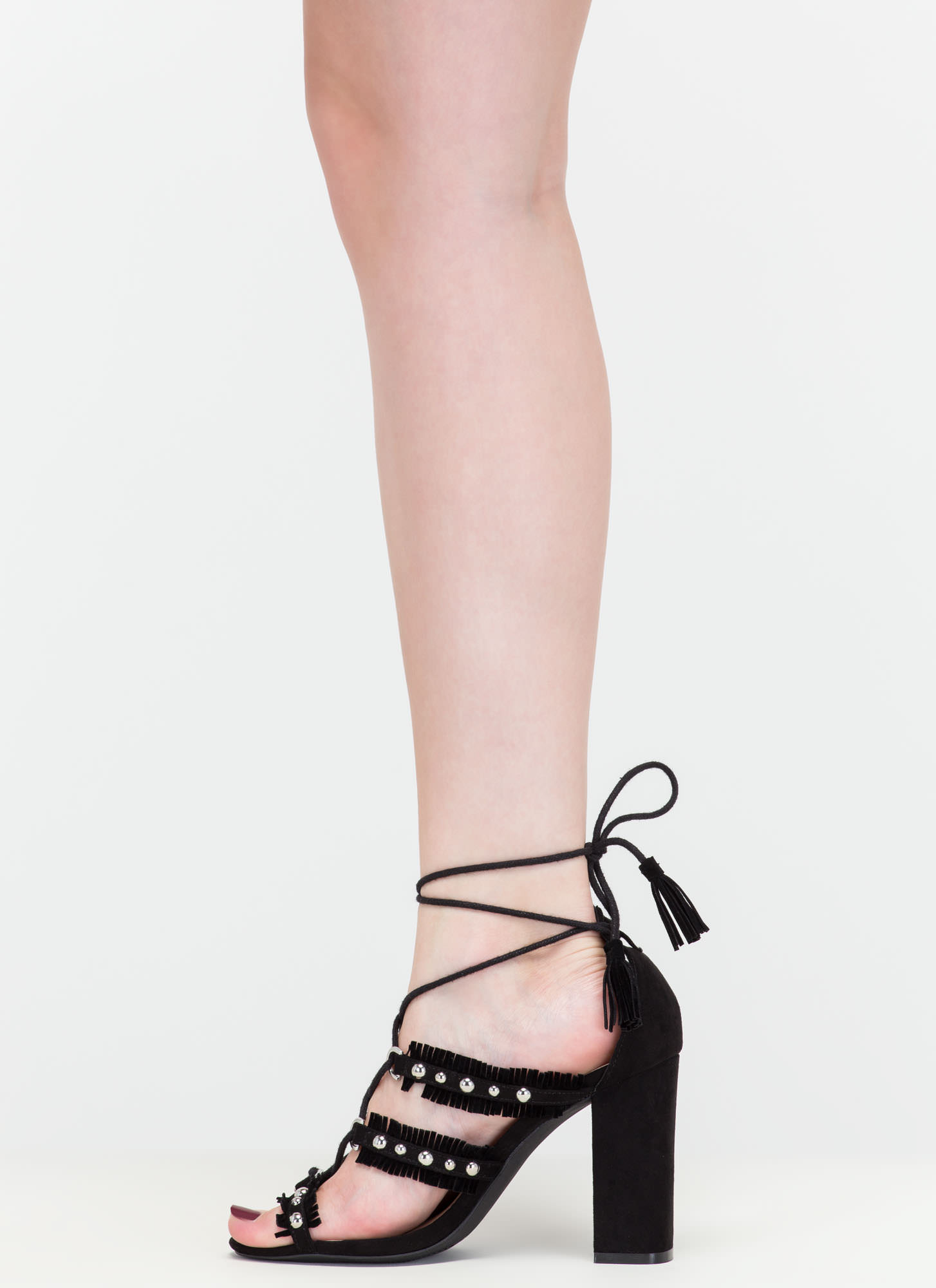 Boho Beauty Fringed Studded Caged Heels BLACK