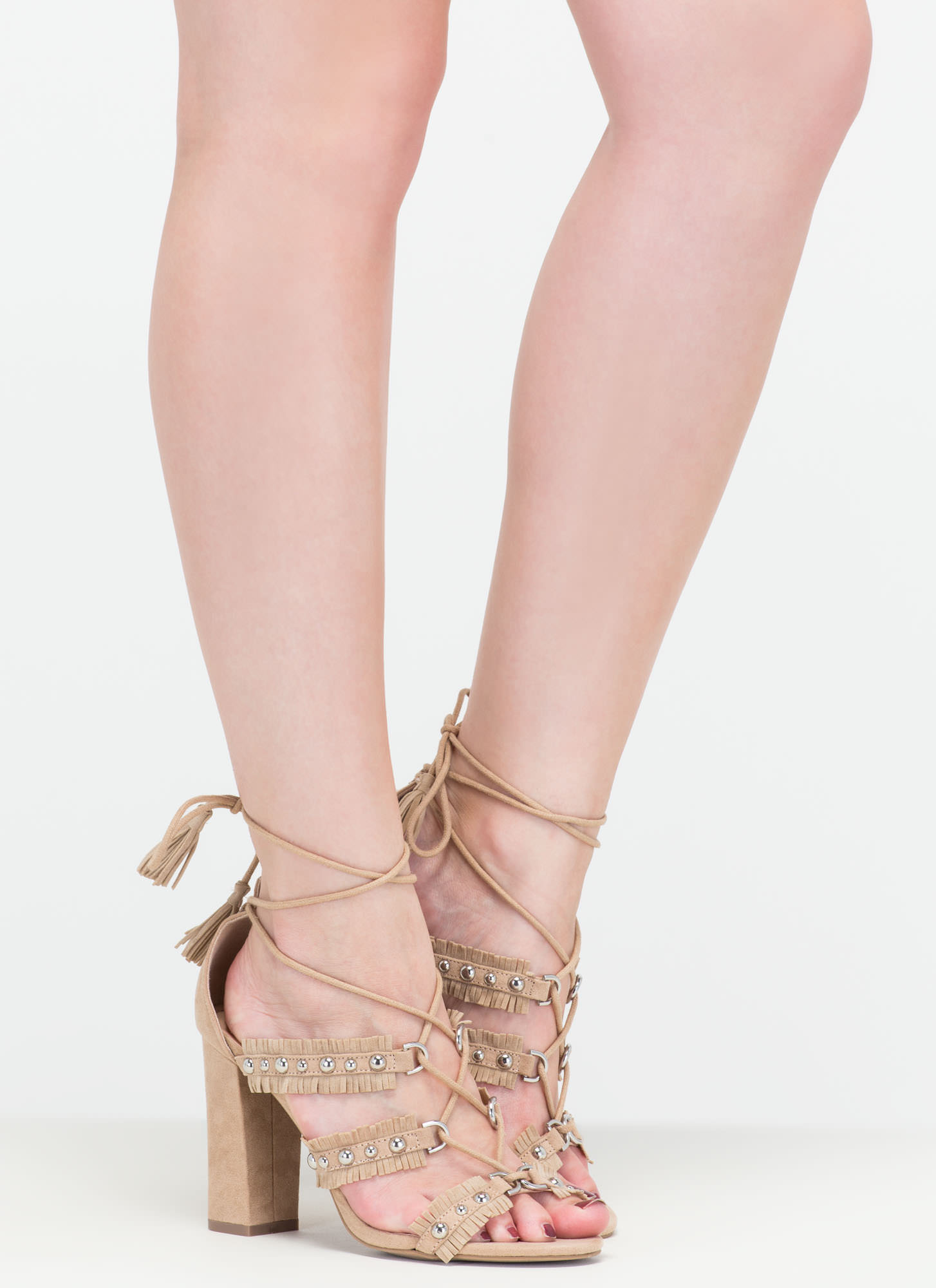 Boho Beauty Fringed Studded Caged Heels NATURAL