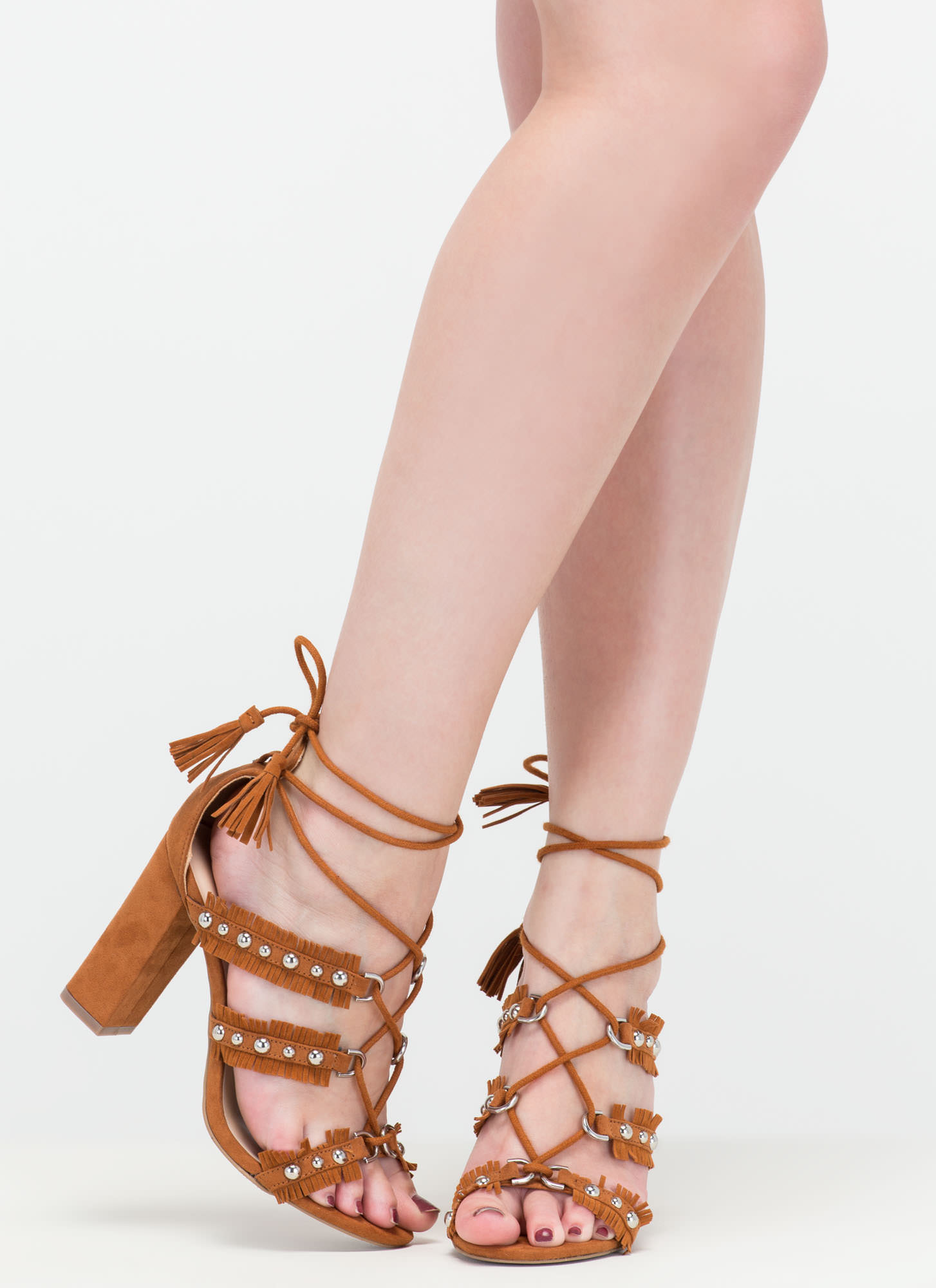 Boho Beauty Fringed Studded Caged Heels WHISKY