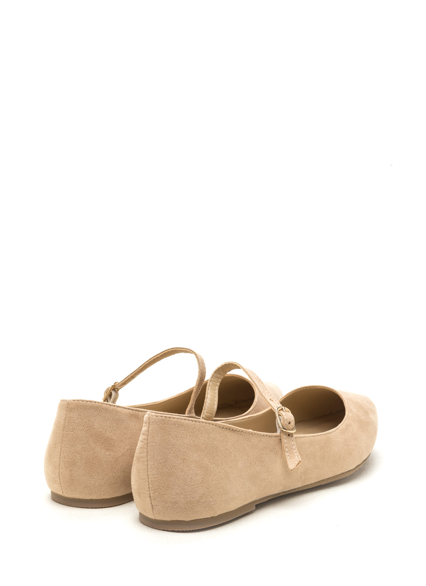Perfectly Polished Faux Suede Flats NATURAL