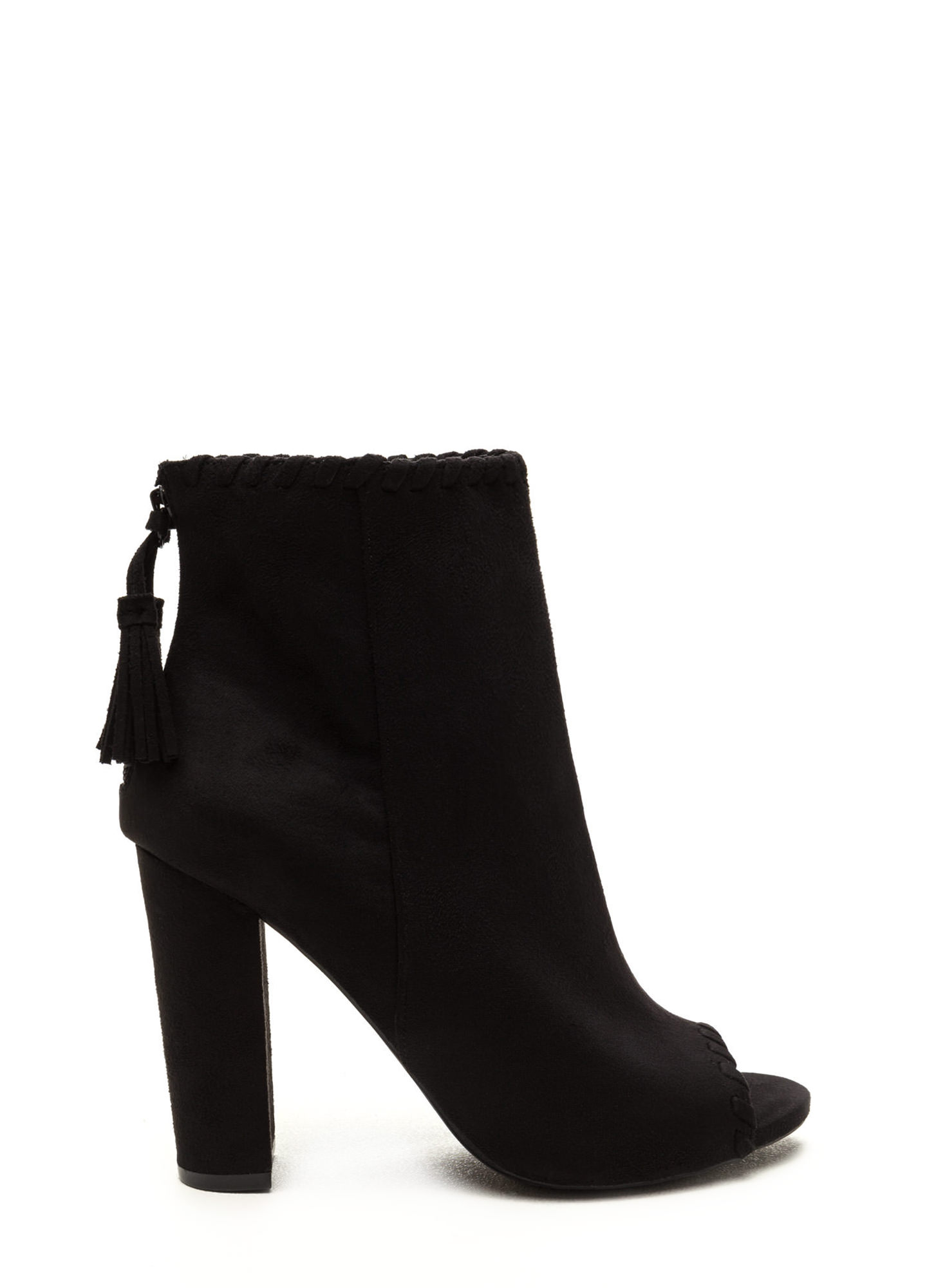 Stitched Up Faux Suede Tasseled Booties BLACK