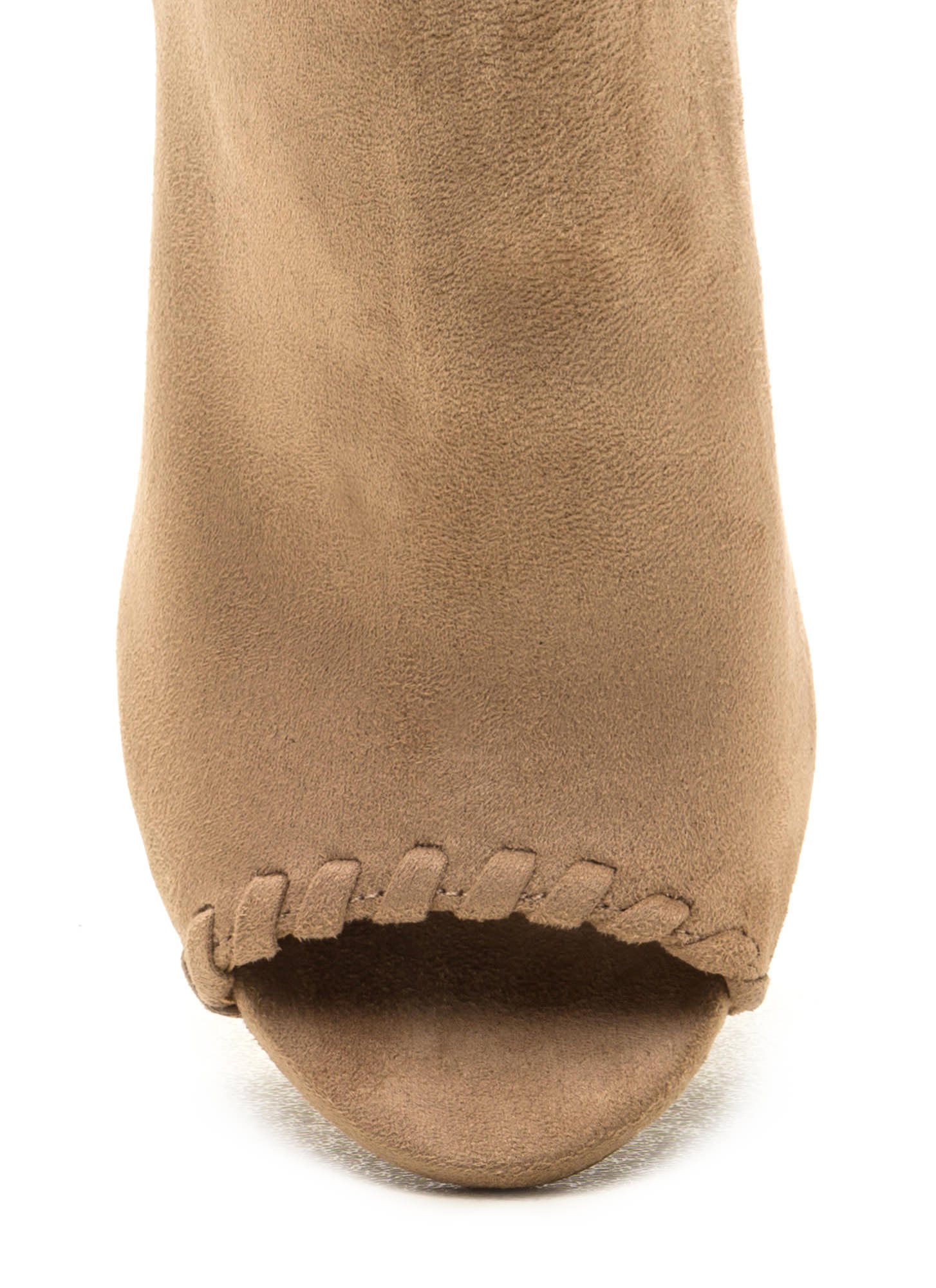Stitched Up Faux Suede Tasseled Booties NATURAL