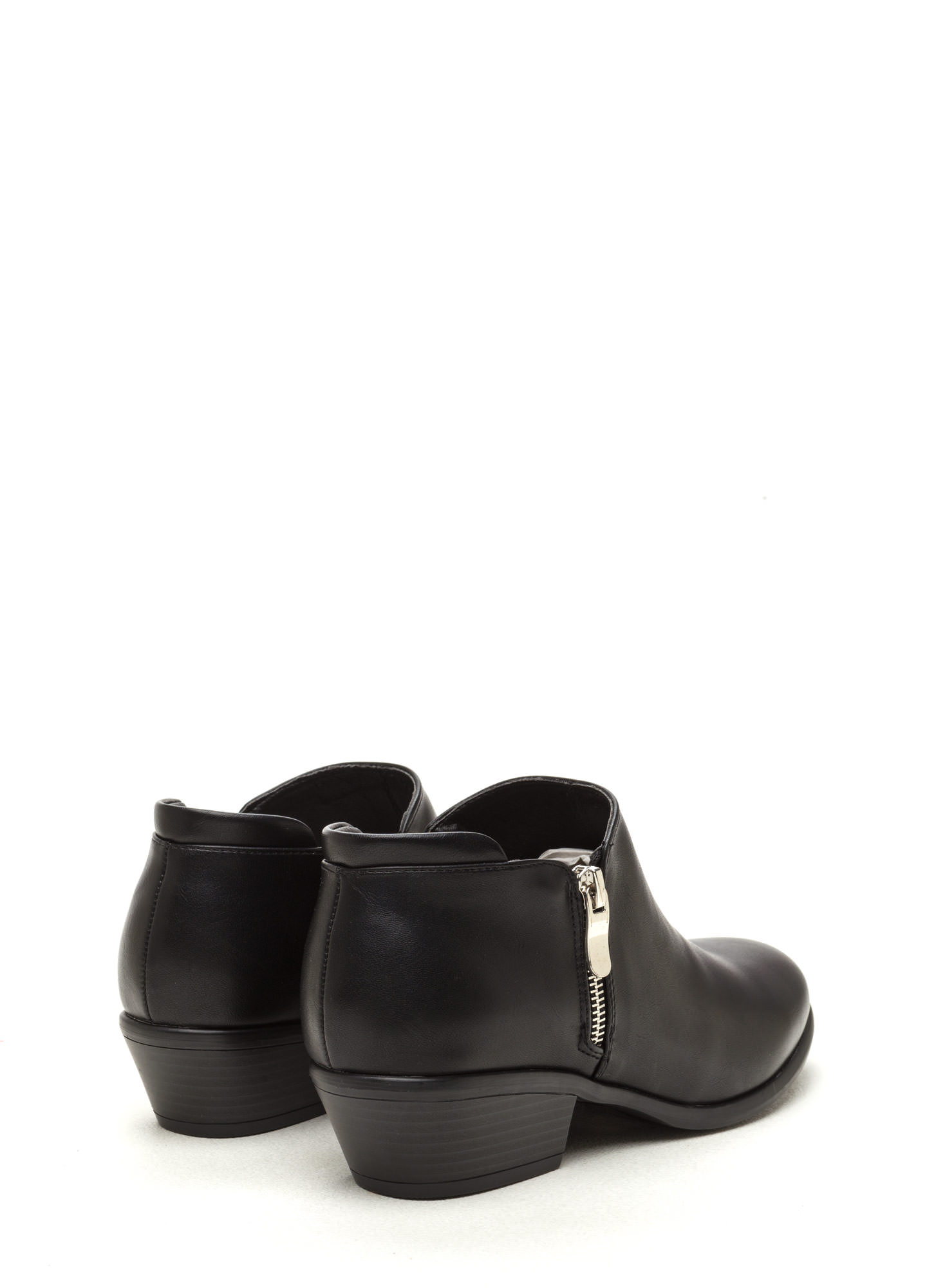 Zip A Beat Faux Leather Chunky Booties BLACK