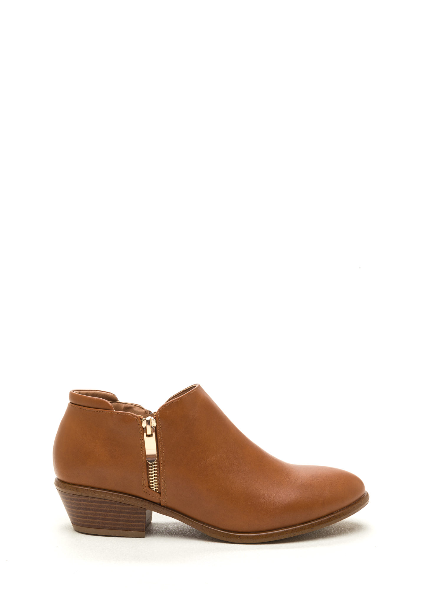 Zip A Beat Faux Leather Chunky Booties COGNAC