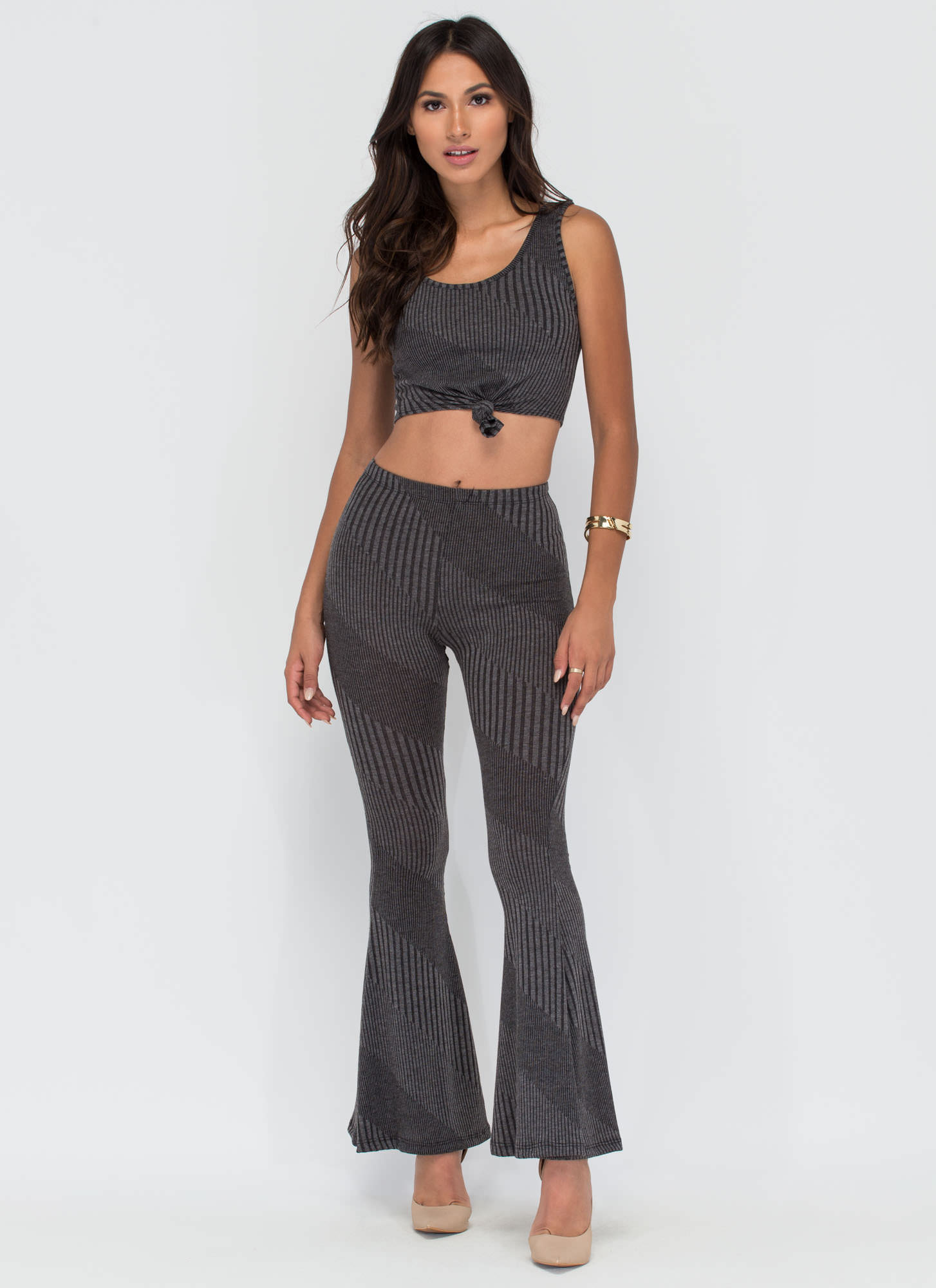 Chic Catch Ribbed Top 'N Pants Set CHARCOAL