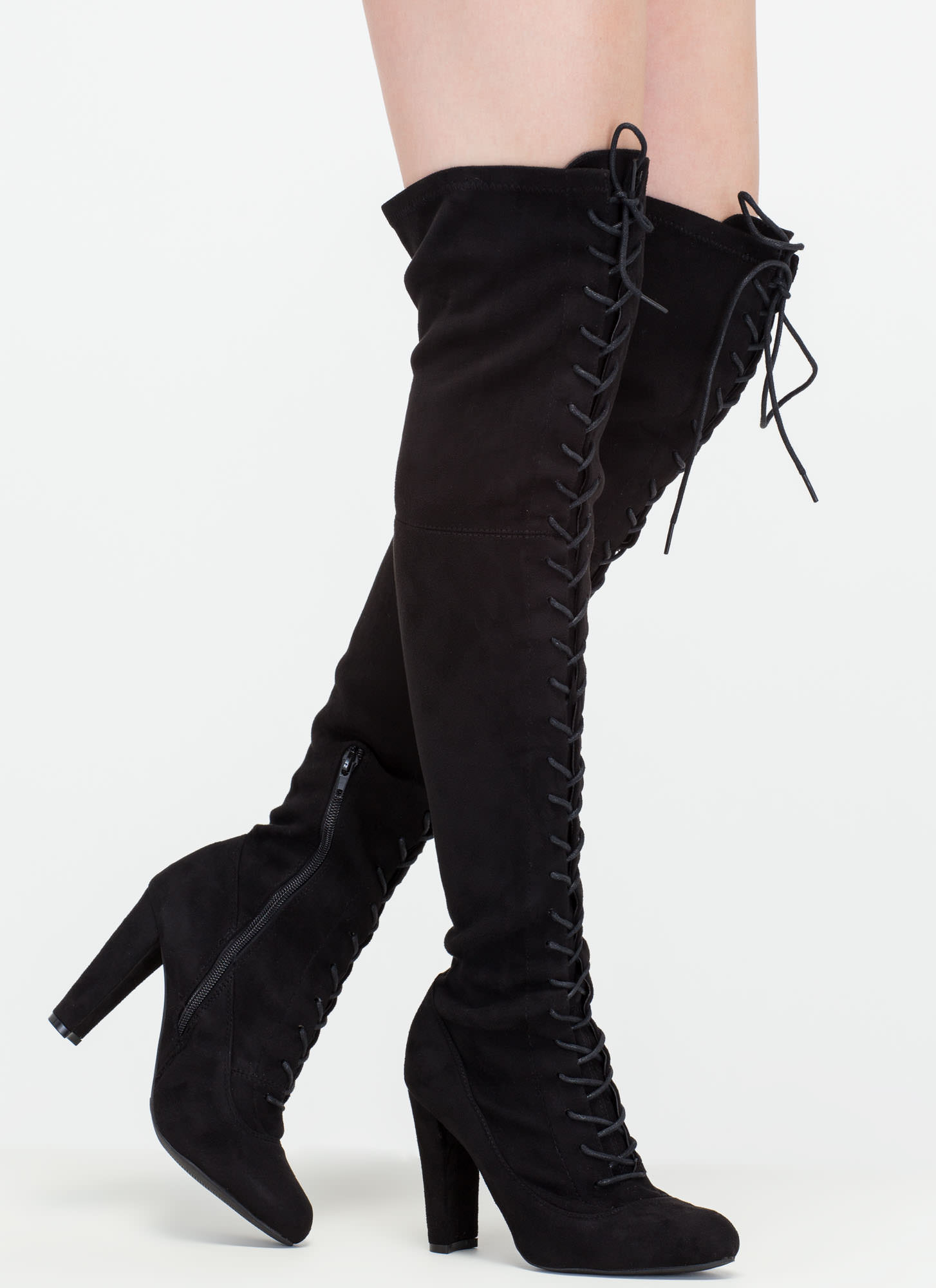 on corset tie up thigh high faux suede boots black taupe