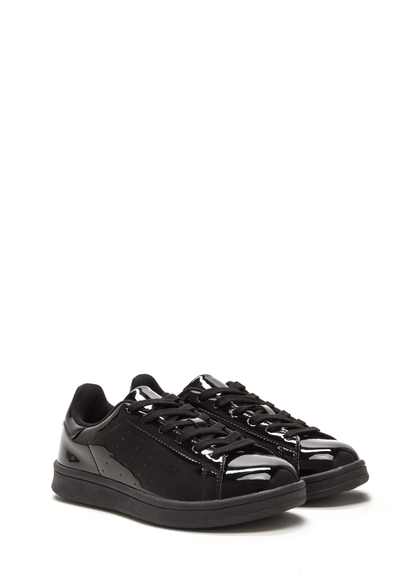 Sole Seeker Faux Patent Leather Sneakers BLACK