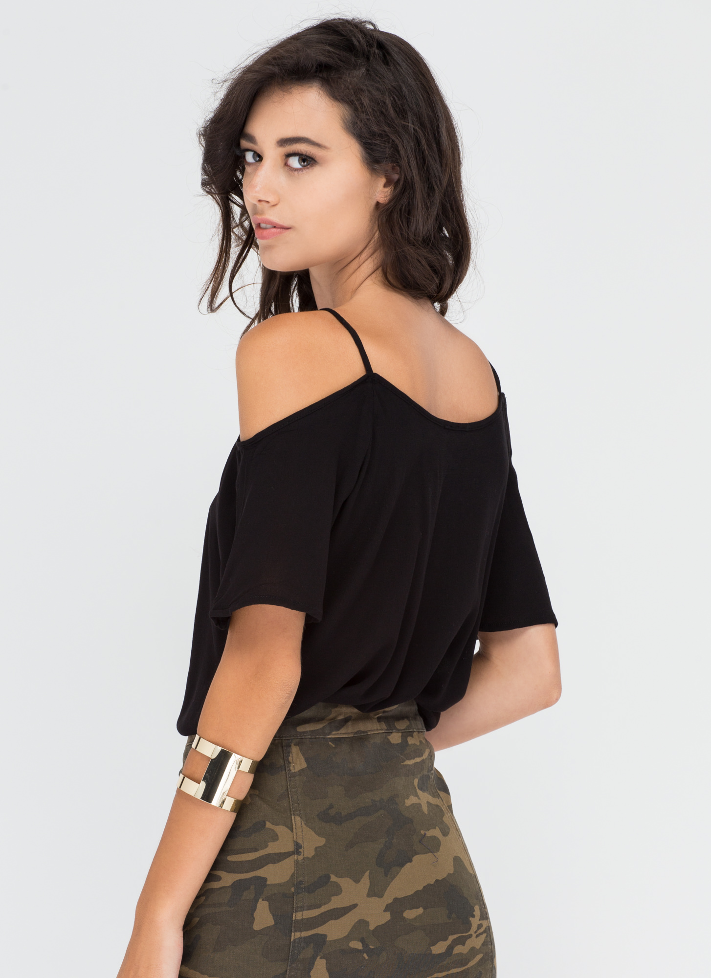 Straps And Laces Cold Shoulder Top BLACK