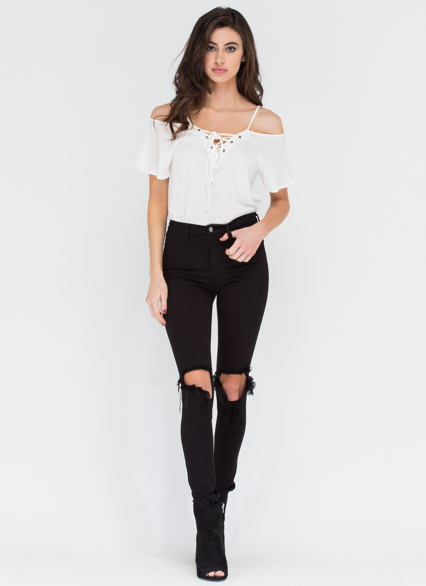 Straps And Laces Cold Shoulder Top WHITE