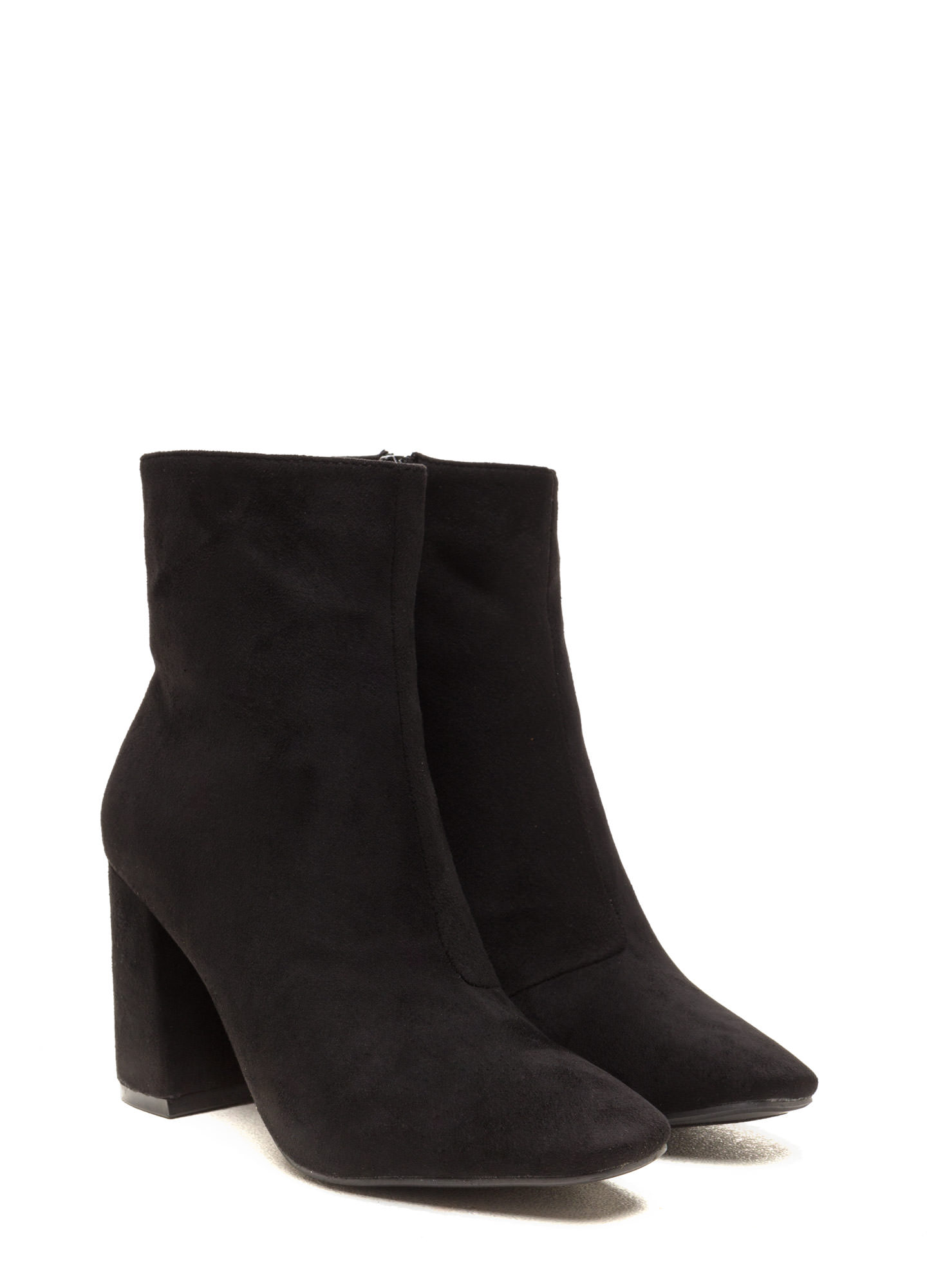 All Squared Away Faux Suede Booties BLACK