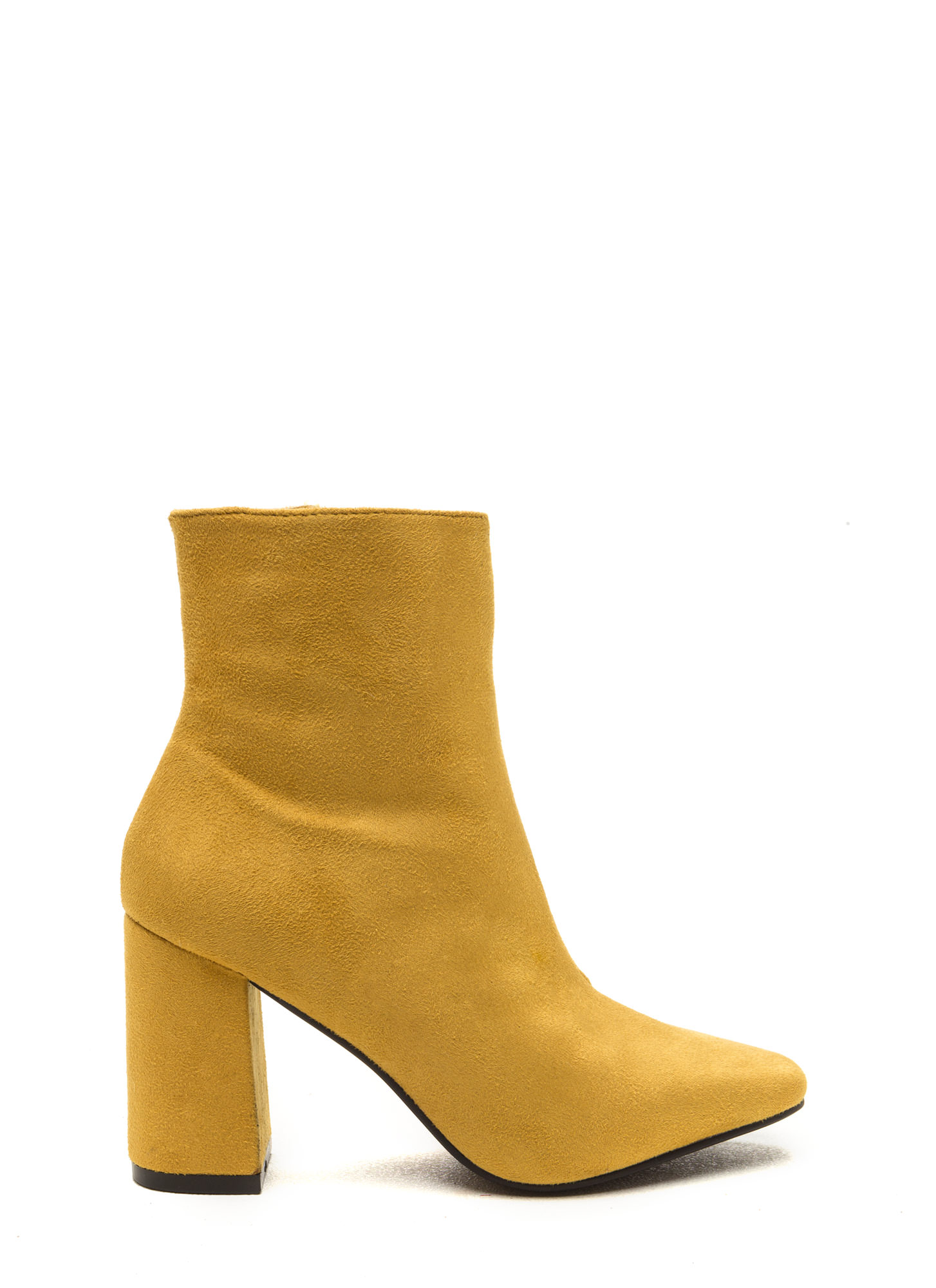 All Squared Away Faux Suede Booties MUSTARD