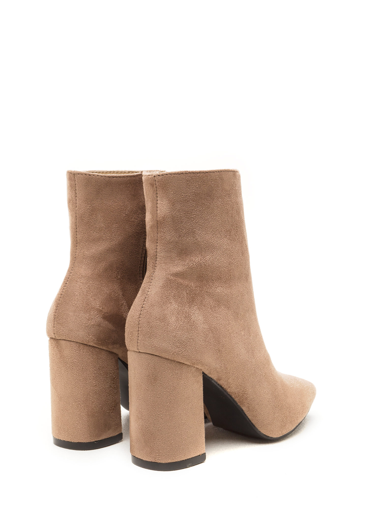All Squared Away Faux Suede Booties TAUPE