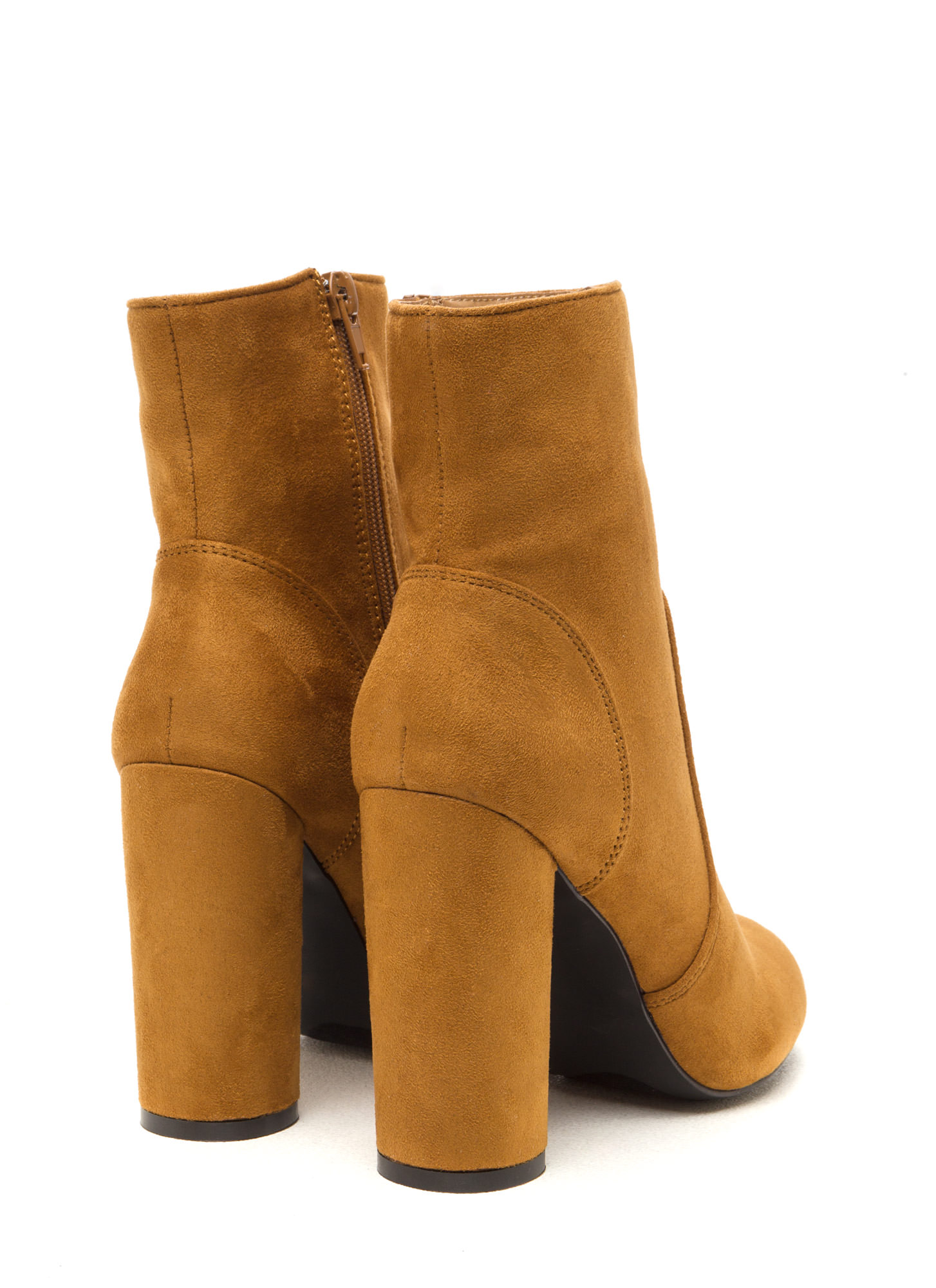 Rodeo Drive Faux Suede Chunky Booties CHESTNUT