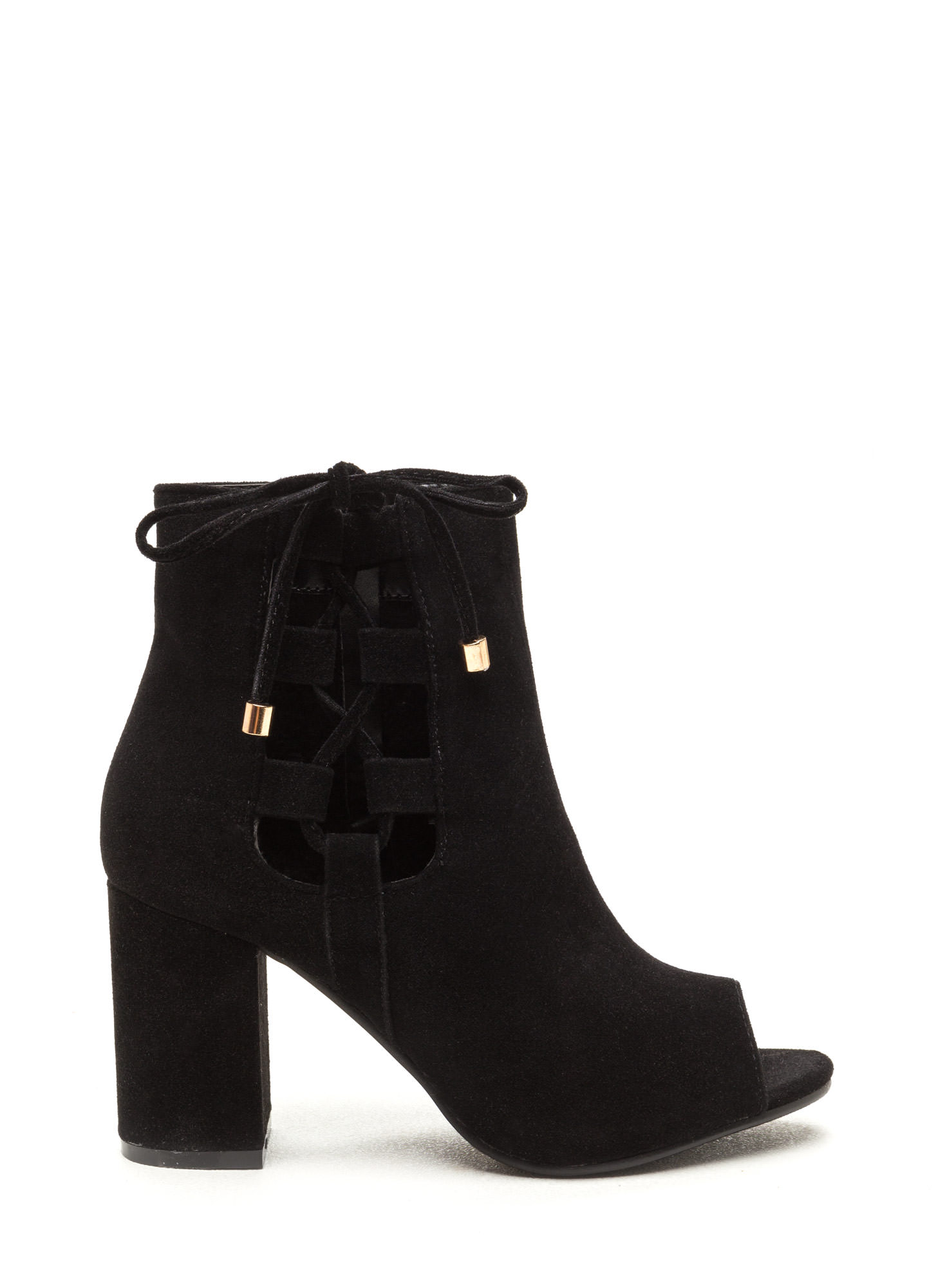 After Sunrise Lace-Up Chunky Booties BLACK