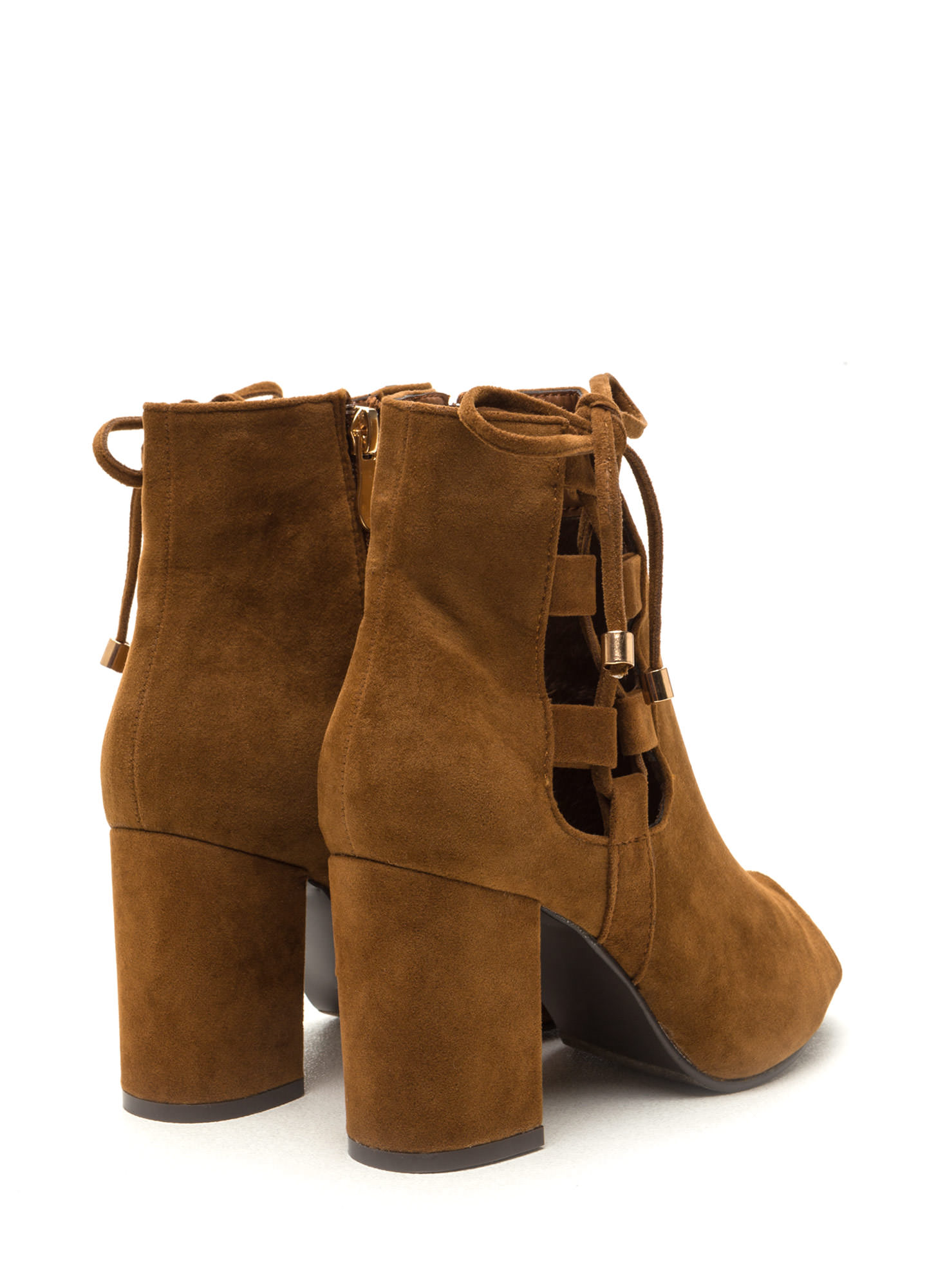 After Sunrise Lace-Up Chunky Booties COGNAC