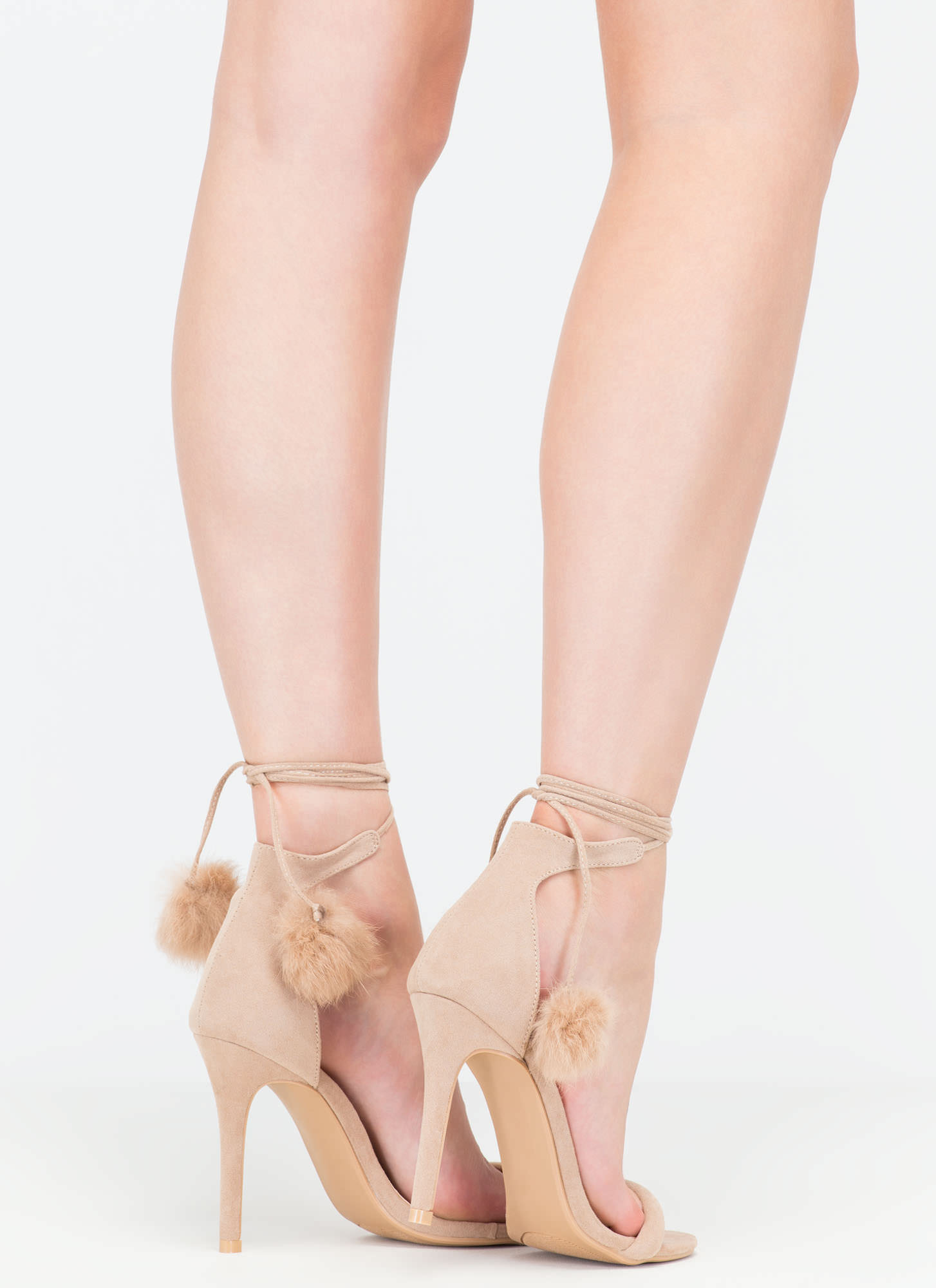 Pom-Pom Squad Faux Suede Heels NUDE