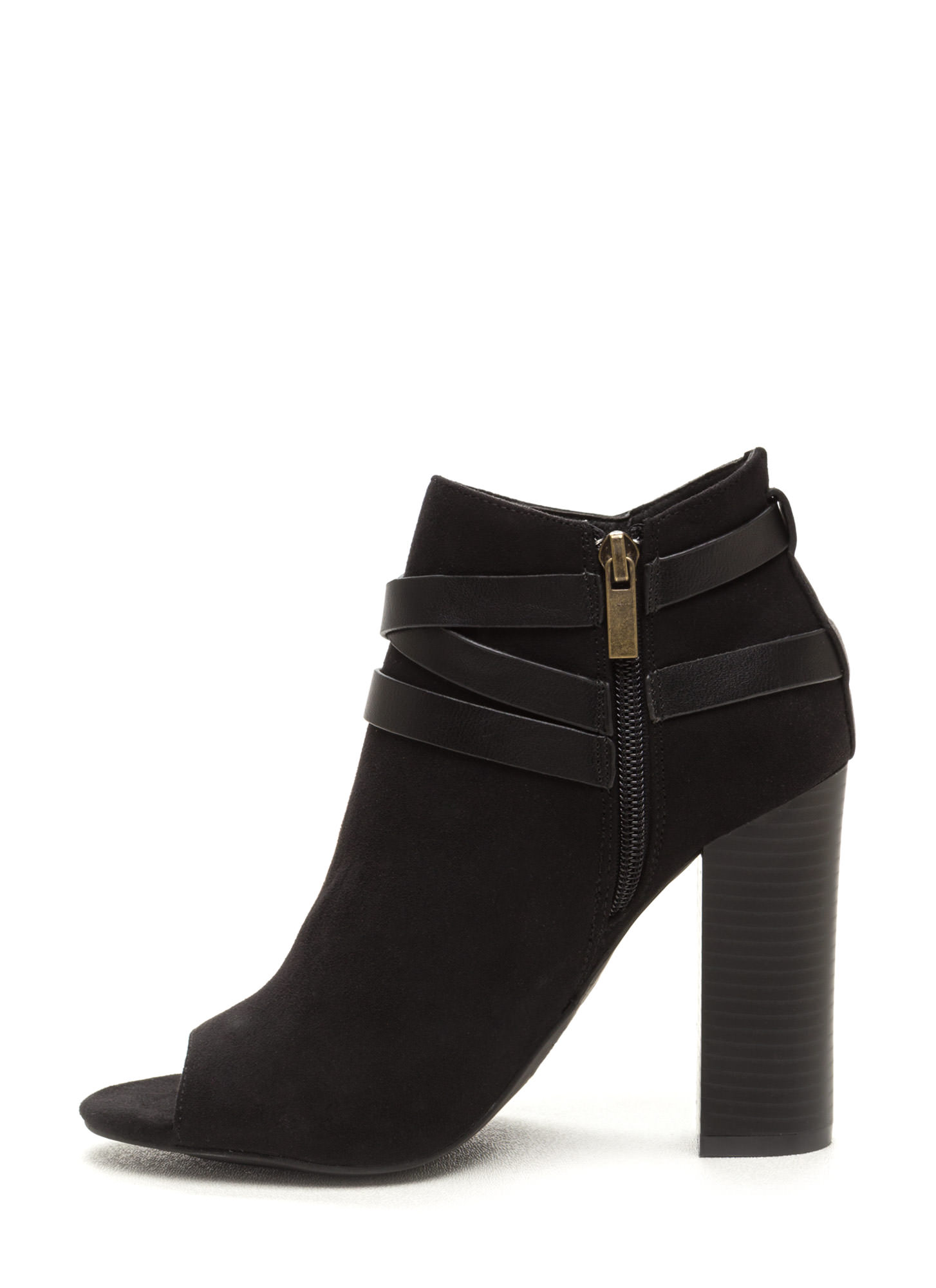 Vertical Integration Faux Suede Booties BLACK