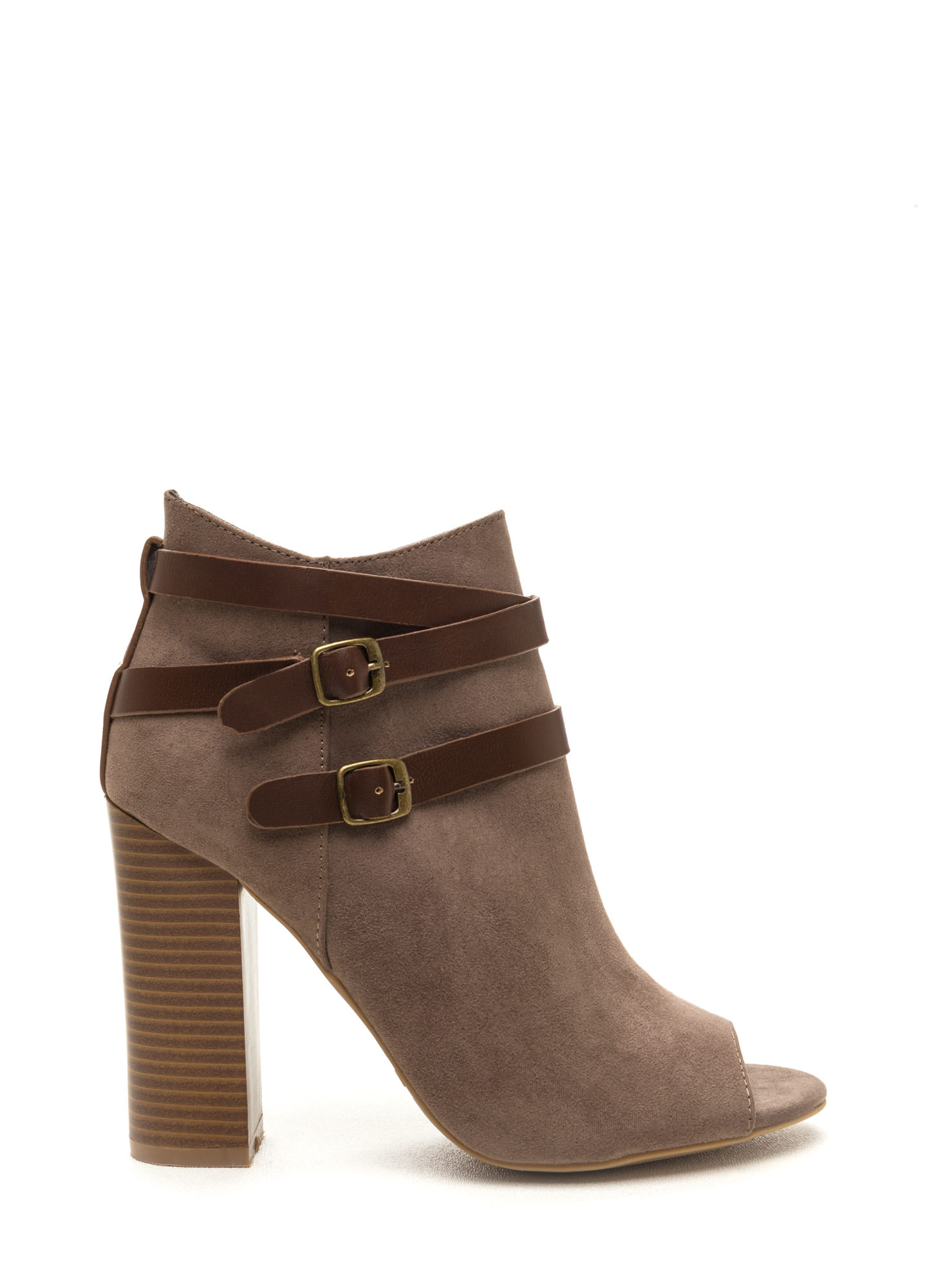 Vertical Integration Faux Suede Booties TAUPE